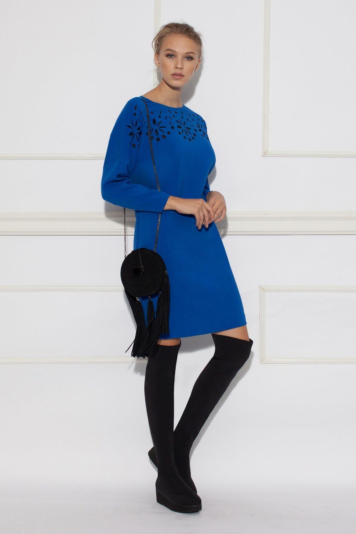 Rochie midi albastra cu decupaje Albastru