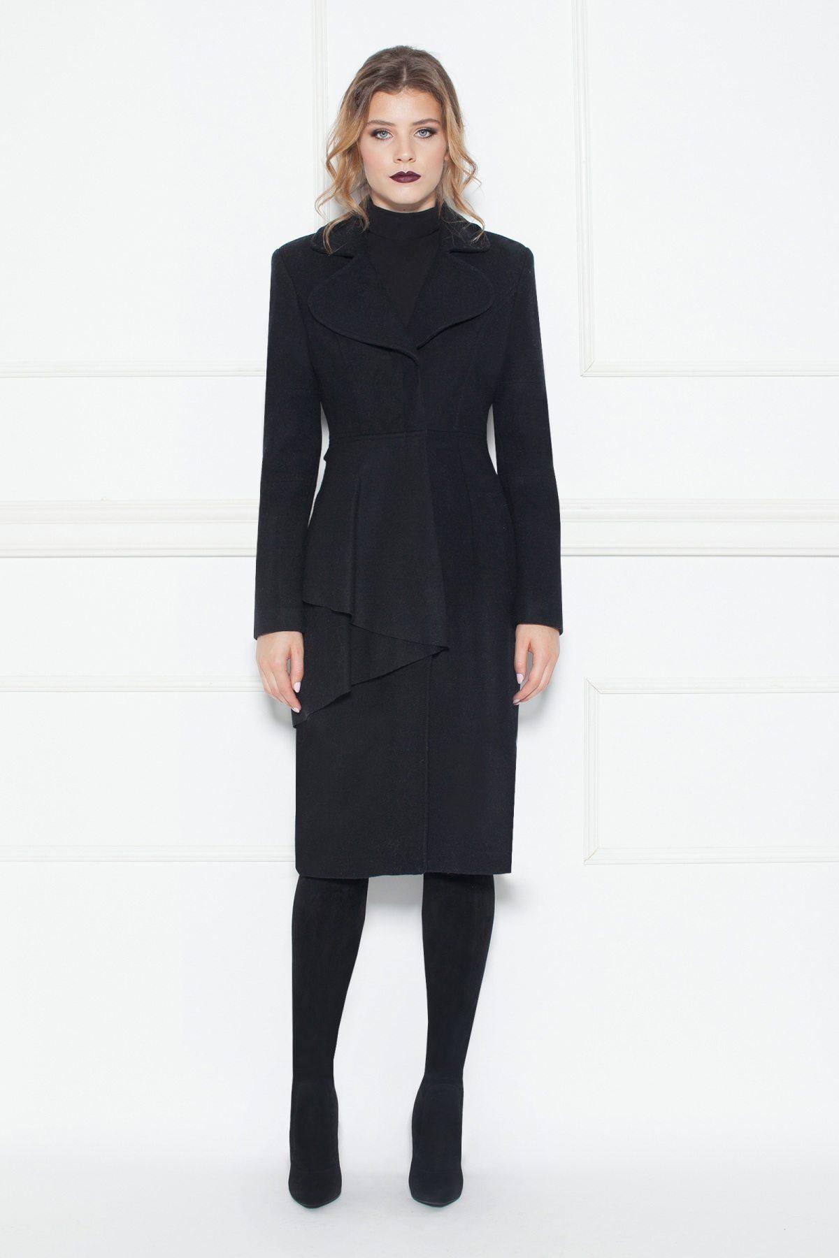 Palton negru cu volan aplicat Negru