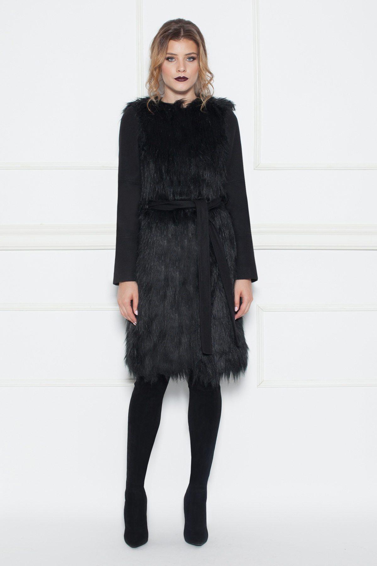Palton cu insertii din blana sintetica Negru