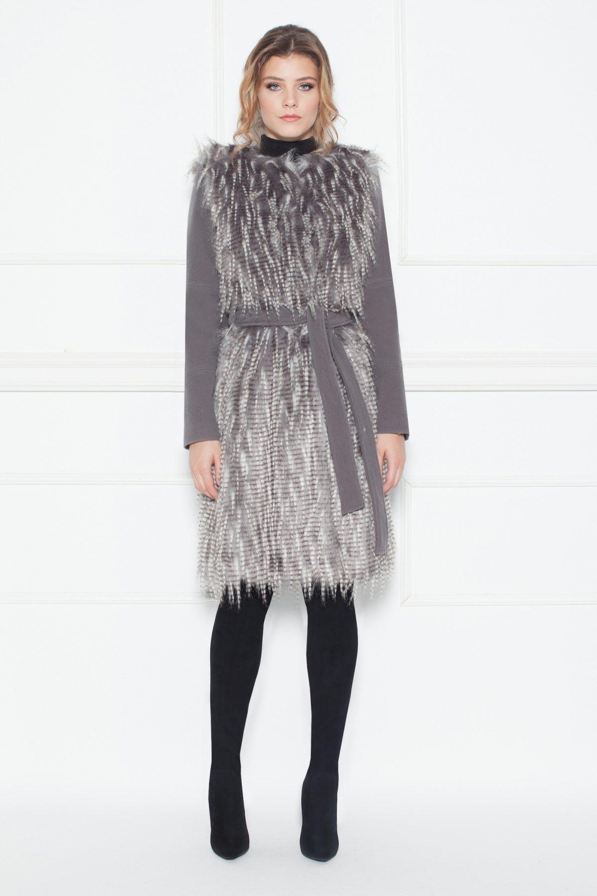 Palton cu insertie din blana artificiala Gri