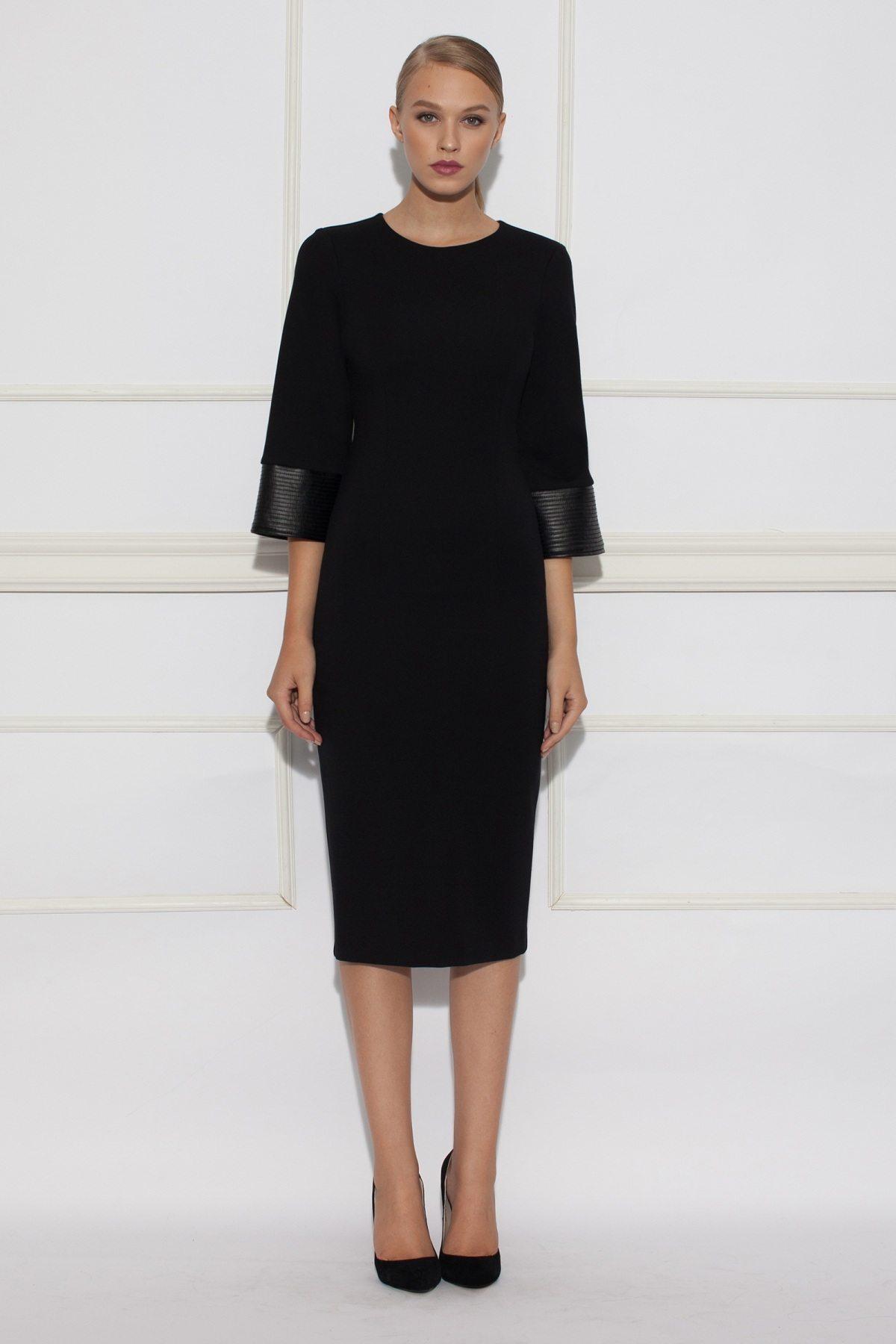 Rochie de zi cu insertie de piele Negru