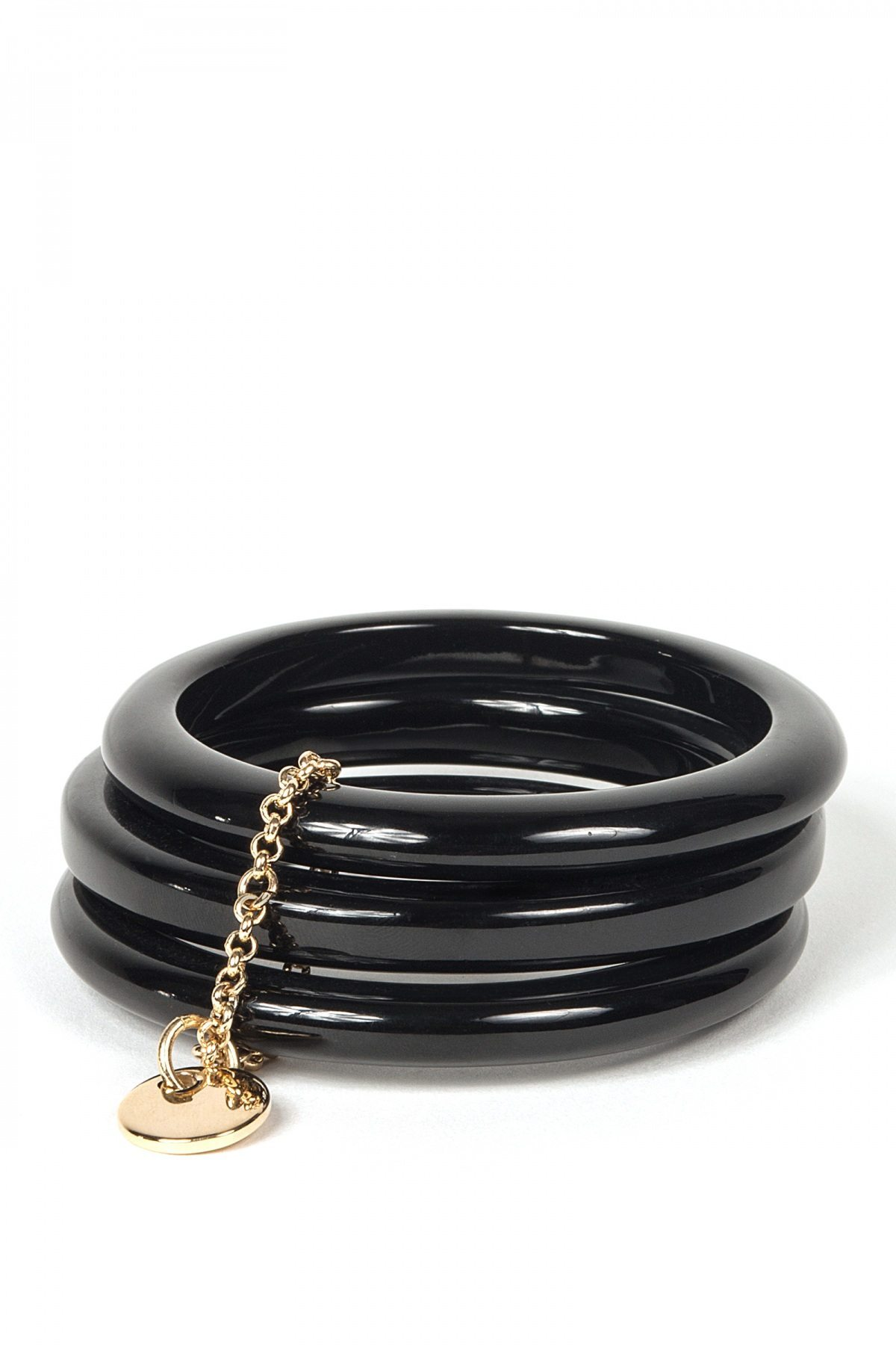 Bratara neagra cu lant auriu Negru