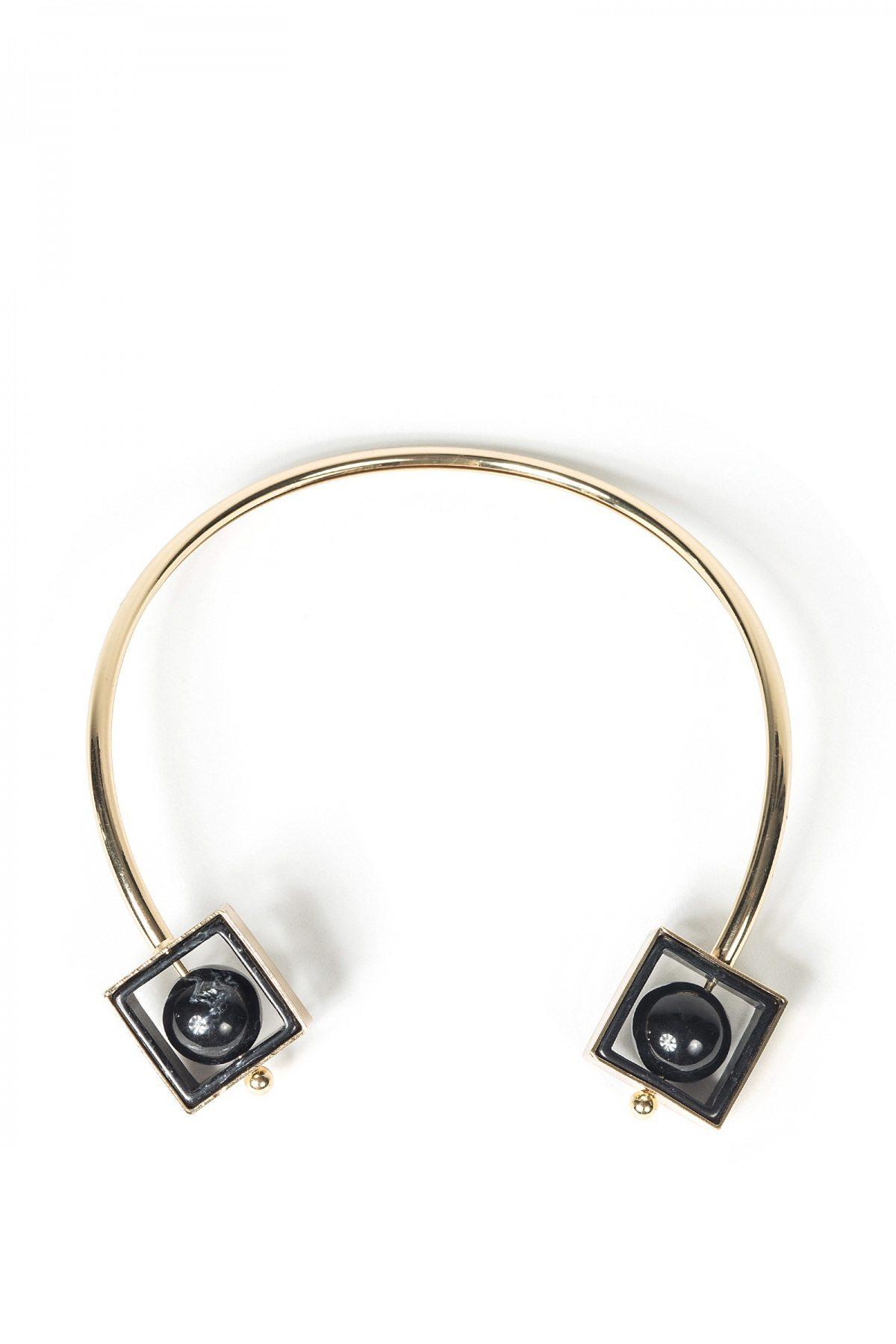 Colier elegant cu forme geometrice Auriu/Negru