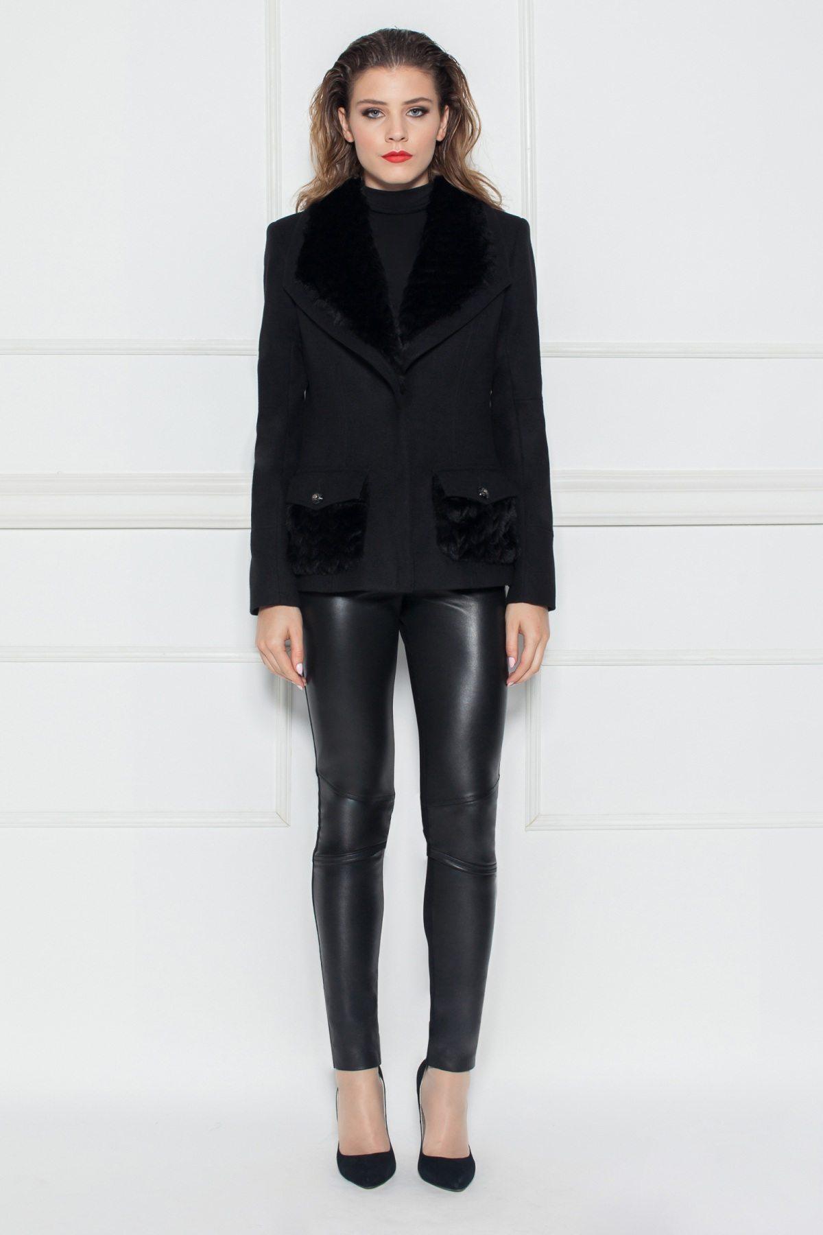 Jacheta neagra cu detalii din blana artificiala Negru
