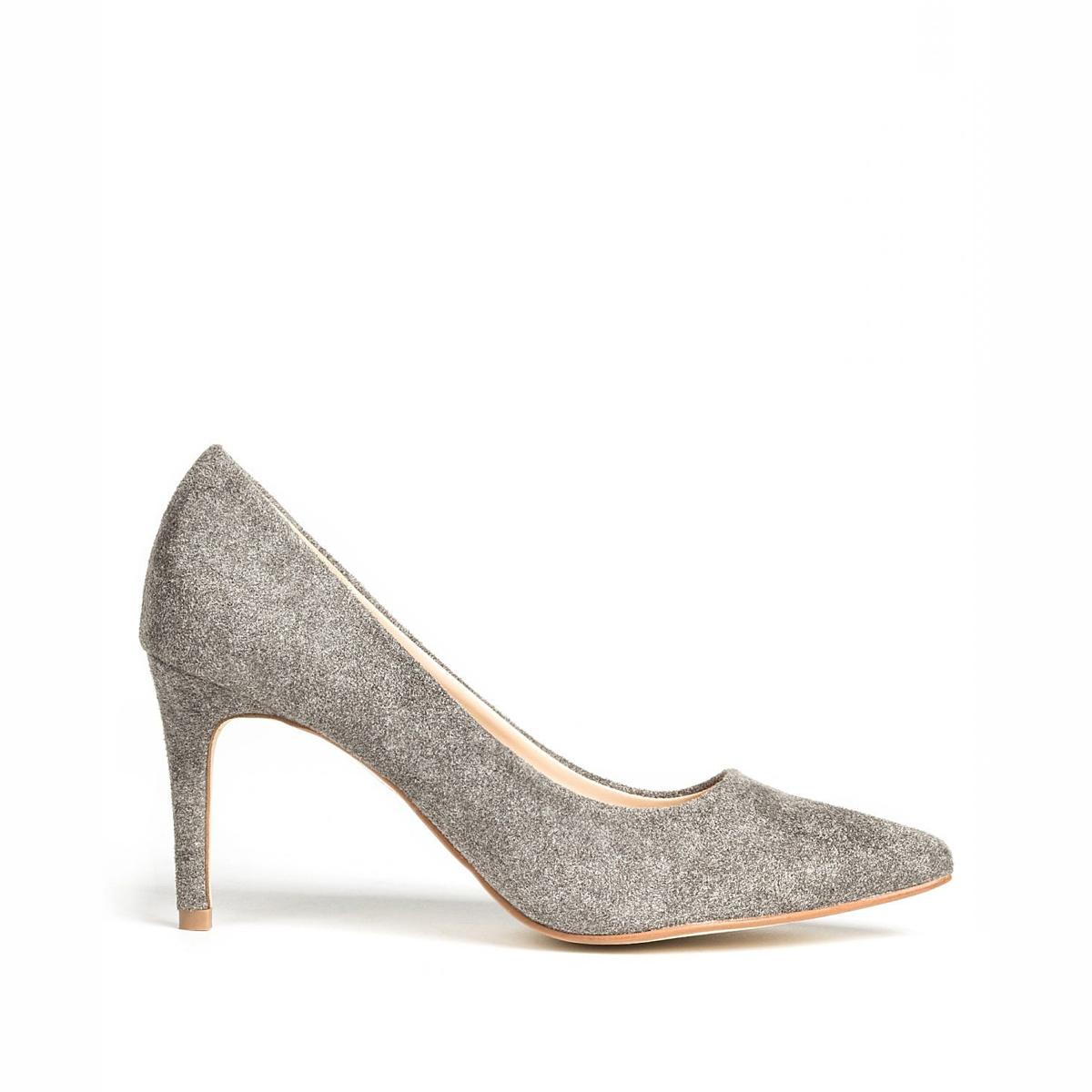 Pantofi stiletto din stofa gri de lana Gri