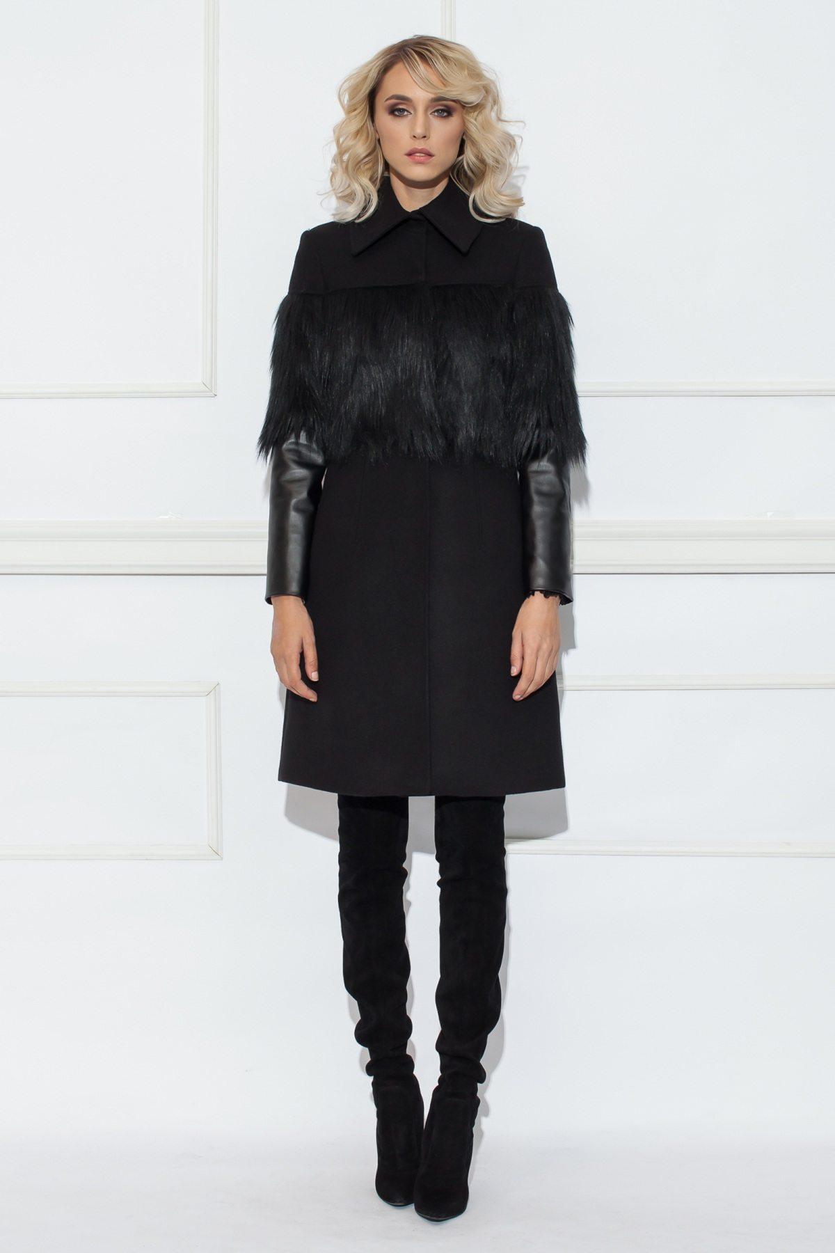 Palton cu maneci din piele ecologica Negru