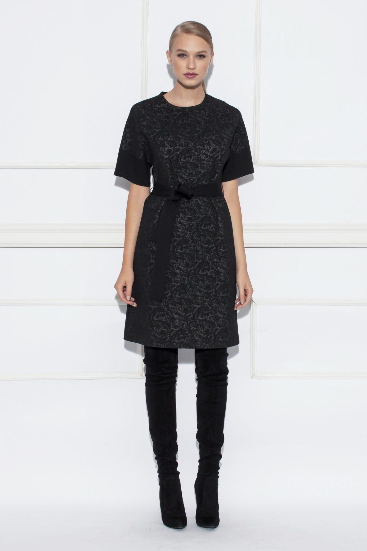 Rochie din brocart cu cordon in talie Negru