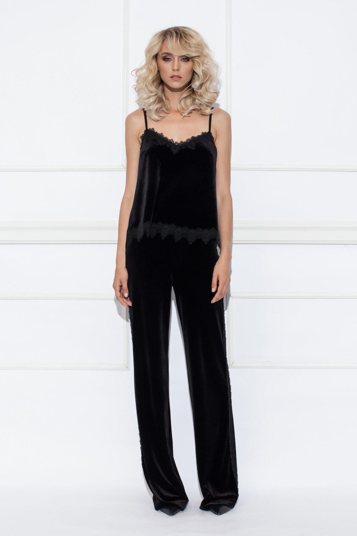 Pantaloni din catifea cu vipusca Negru