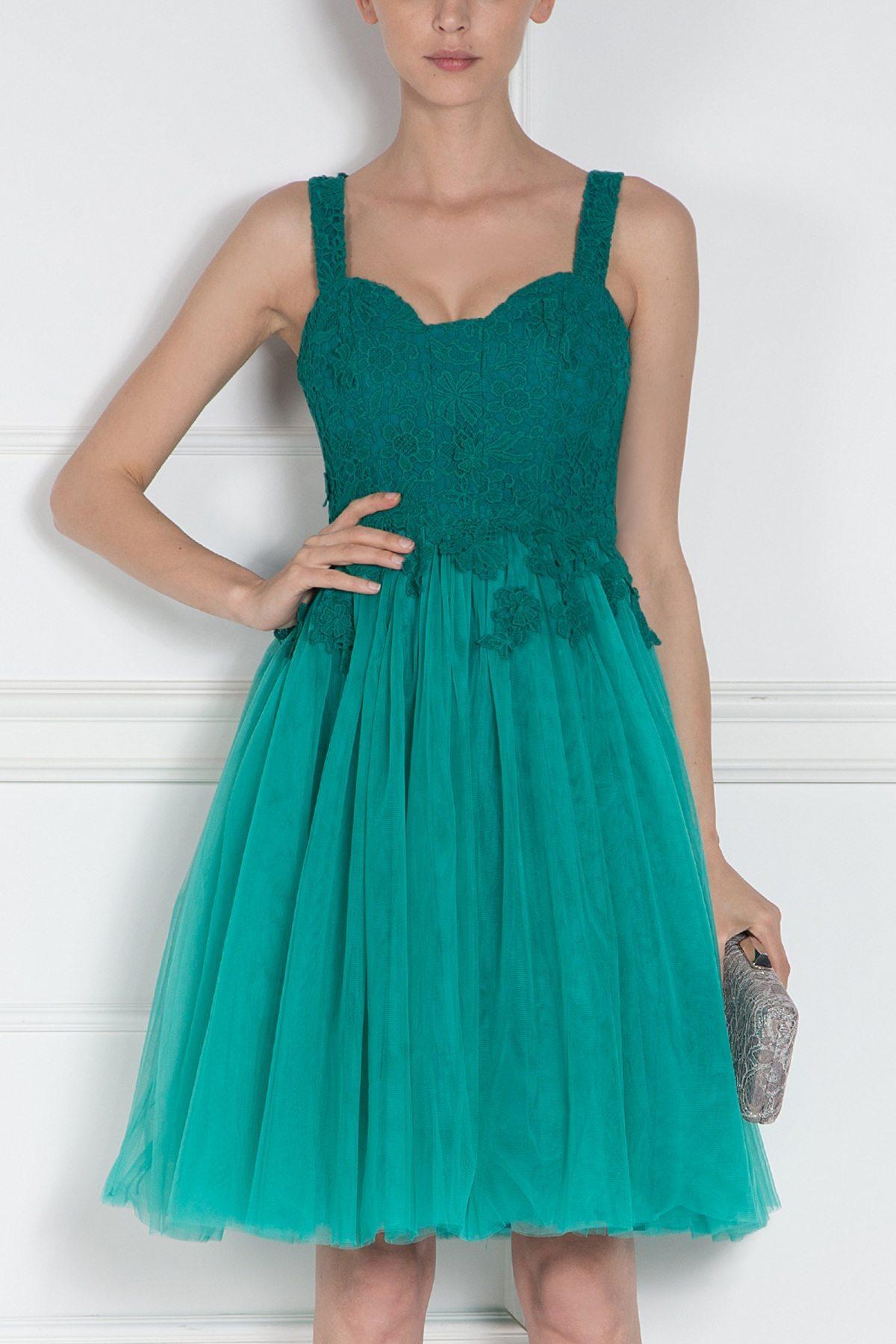 Rochie de seara cu dantela florala si tull Verde