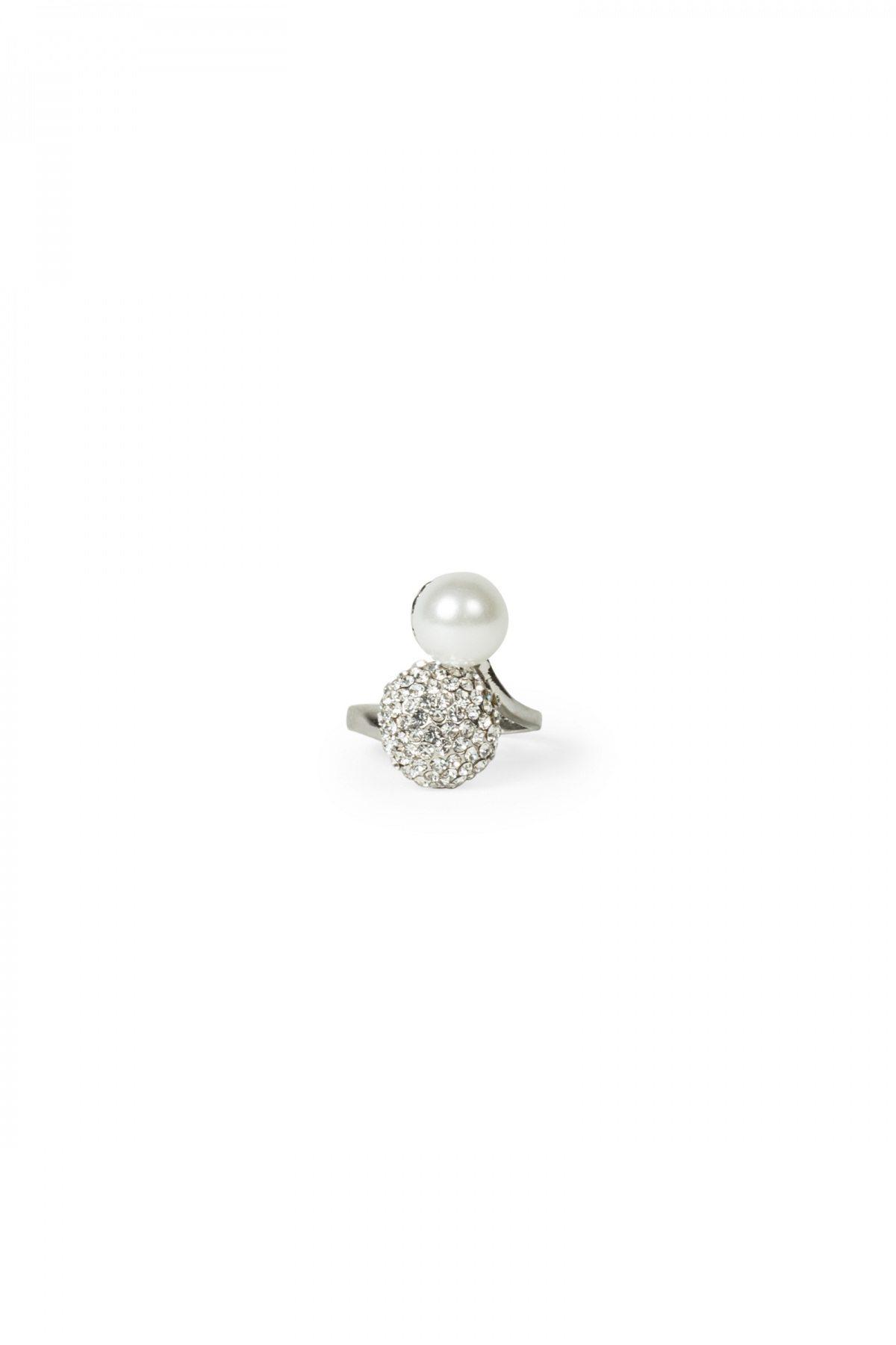 Inel cu perla si pietricele Argintiu