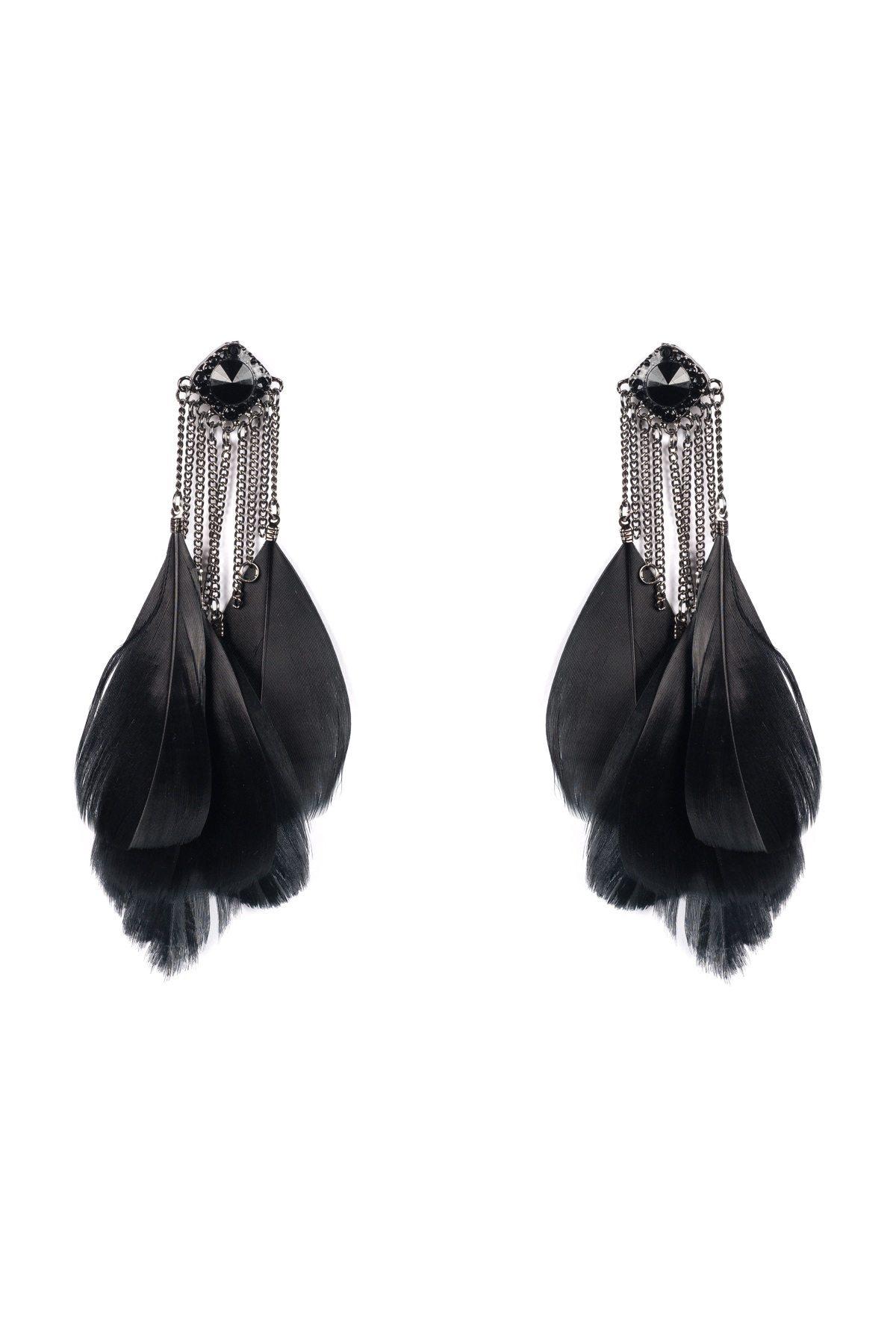 Cercei argintii cu pene negre Negru