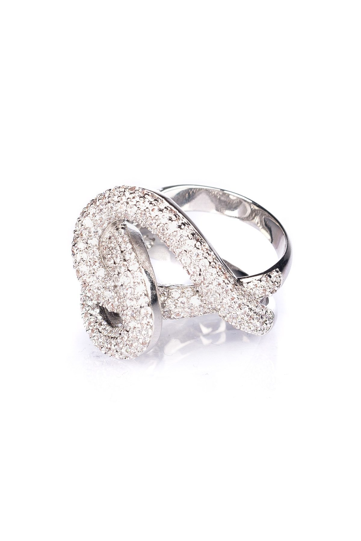 Inel din argint cu pietre de sticla Argintiu