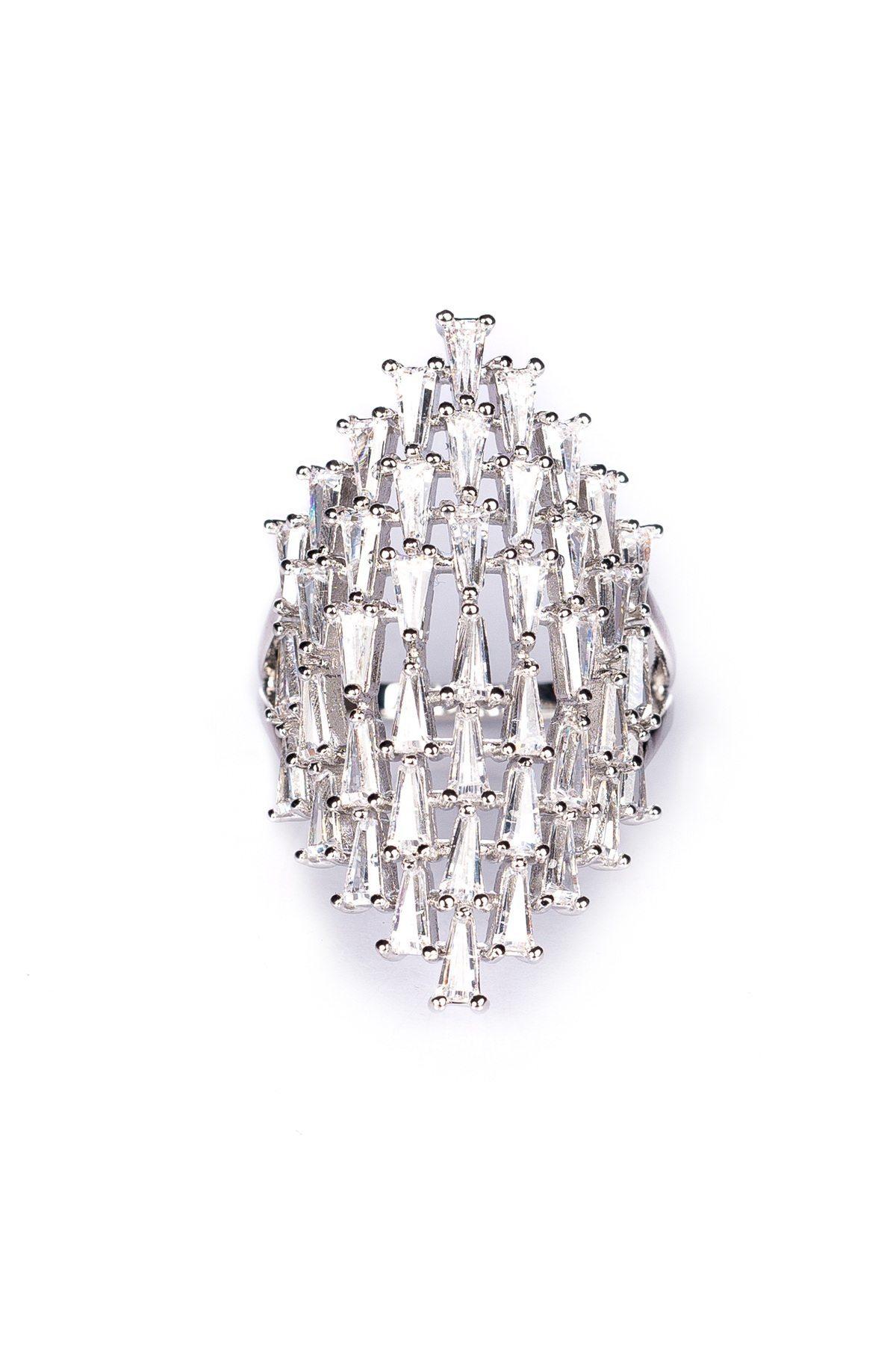Inel argintiu cu pietricele din sticla Argintiu
