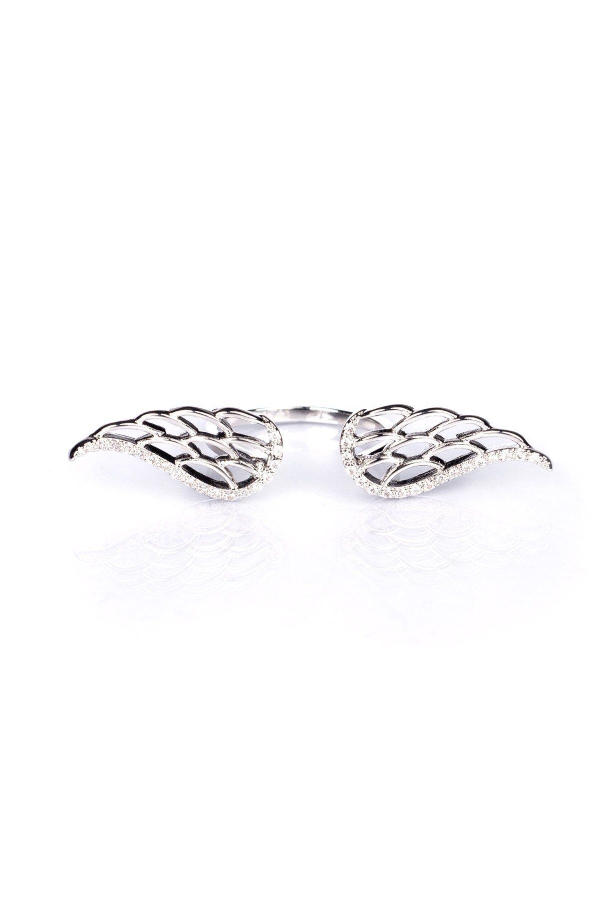 Inel sub forma de aripi Argintiu