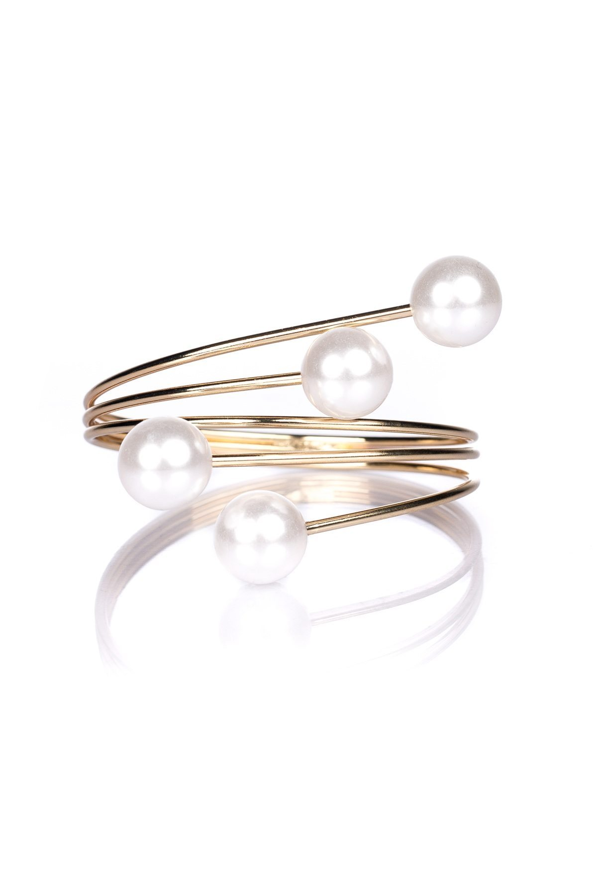 Bratara aurie cu perle Auriu