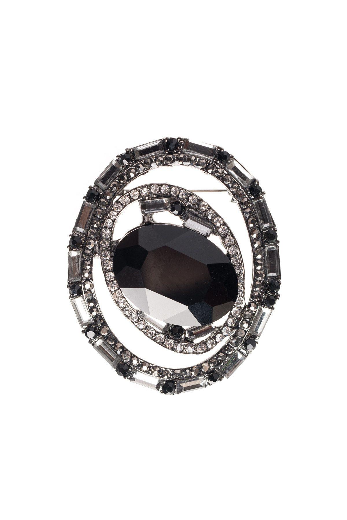 Brosa cu piatra neagra din sticla Negru