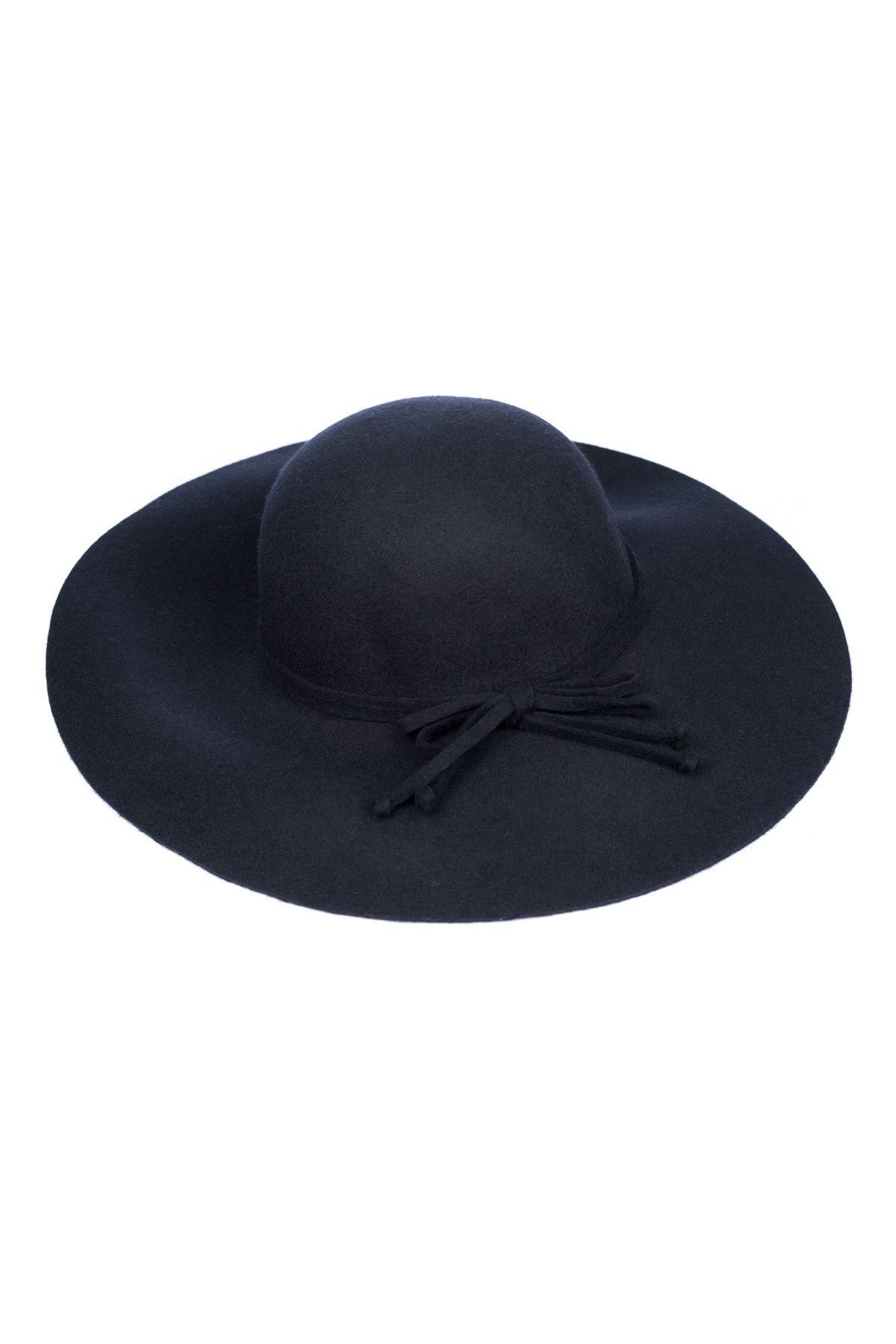 Palarie neagra cu fundita Bleumarin