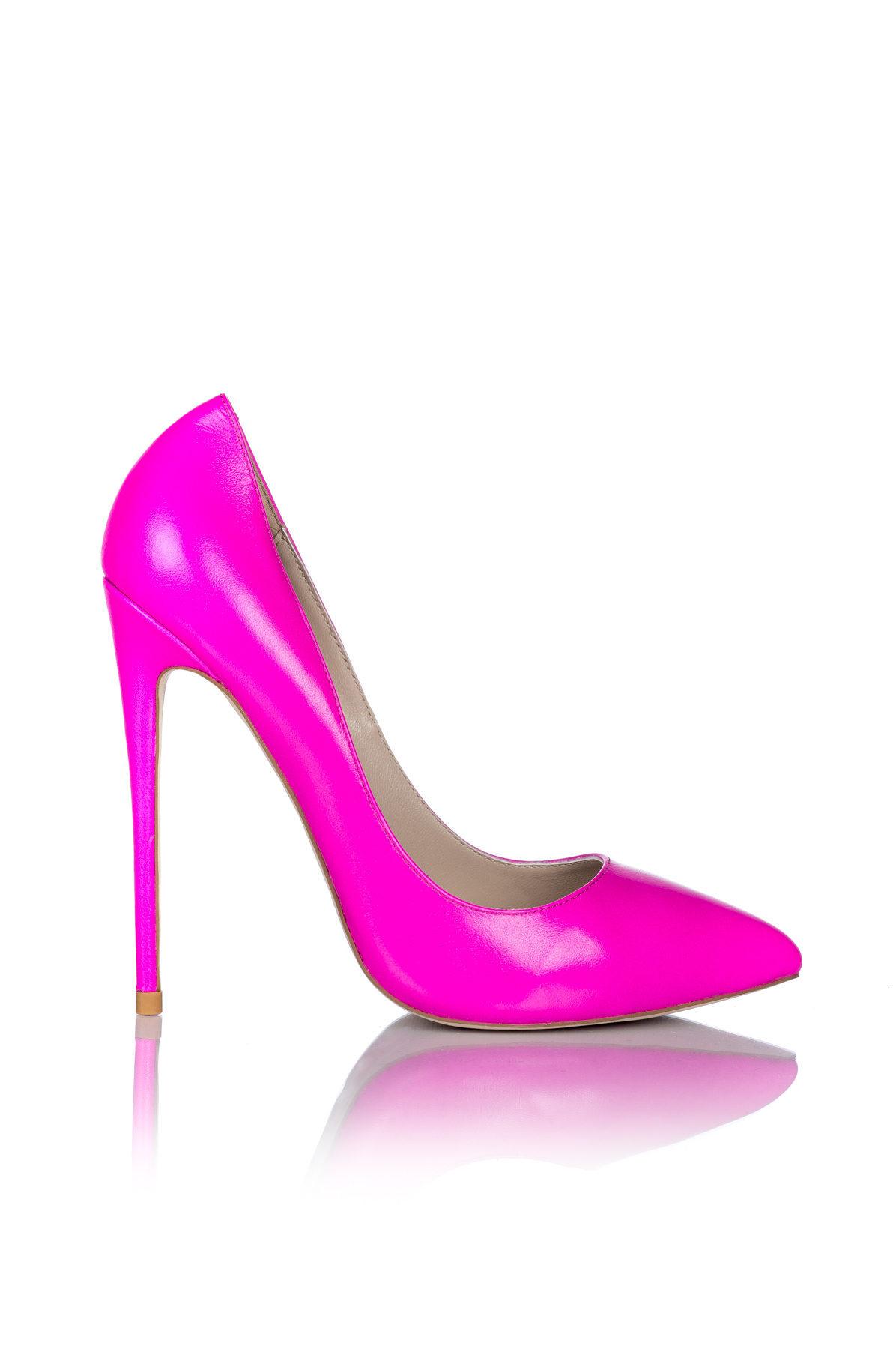 Pantofi roz cu toc Roz