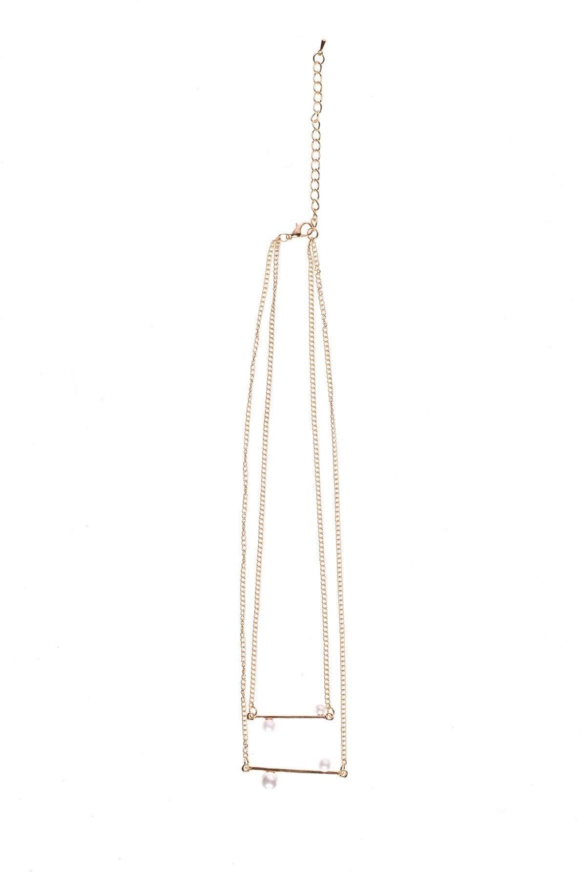 Colier cu lant si perle Auriu