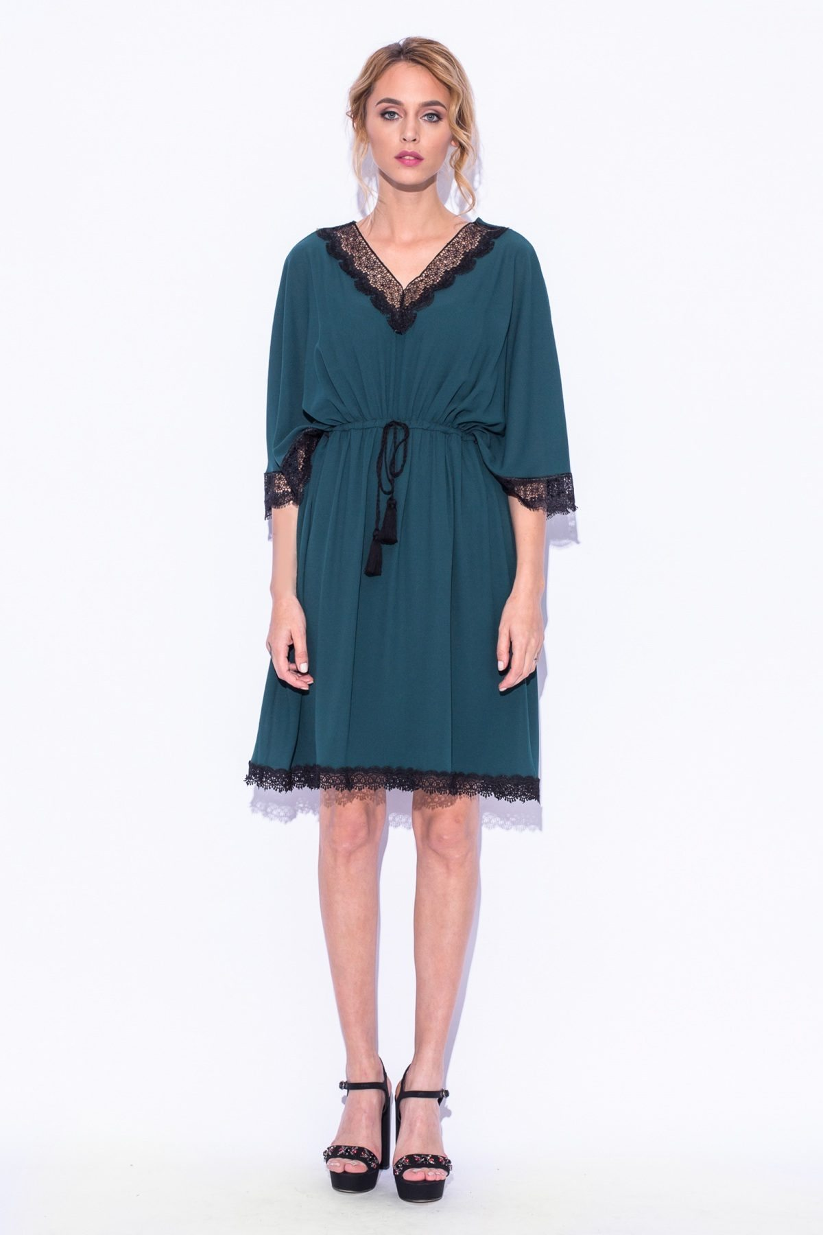 Rochie verde cu dantela Verde