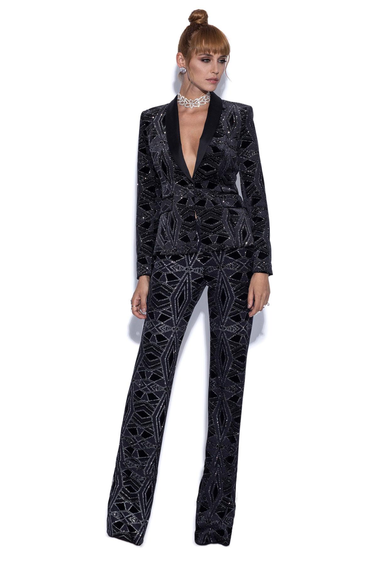 Pantaloni din catifea cu fir metalic Negru