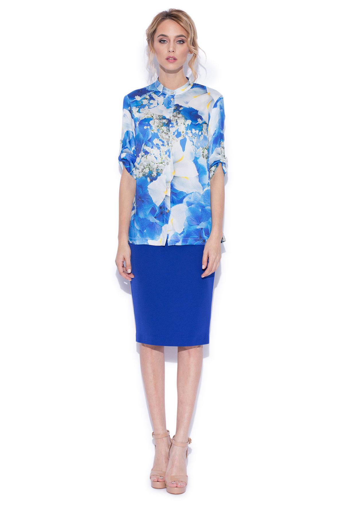 Camasa cu print floral albastru Imprimeu