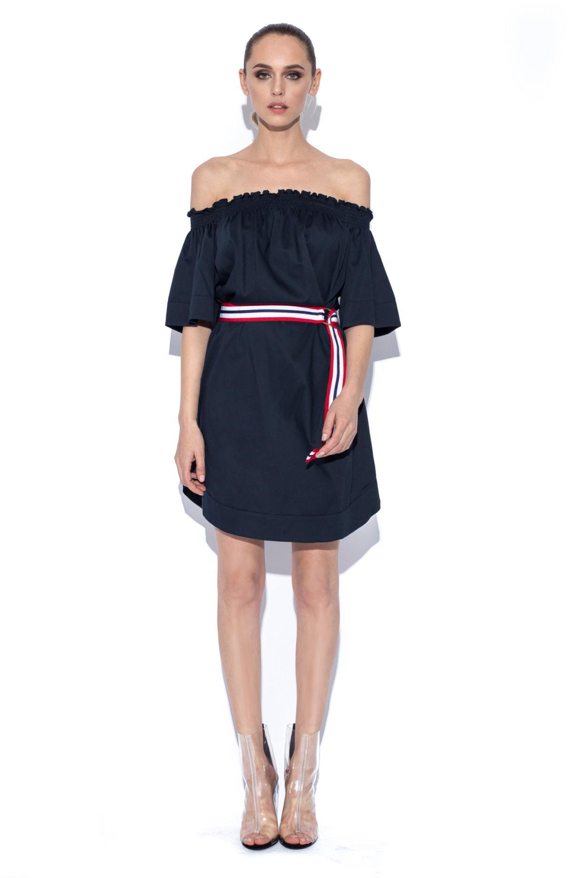 Rochie de zi cu curea in talie Bleumarin