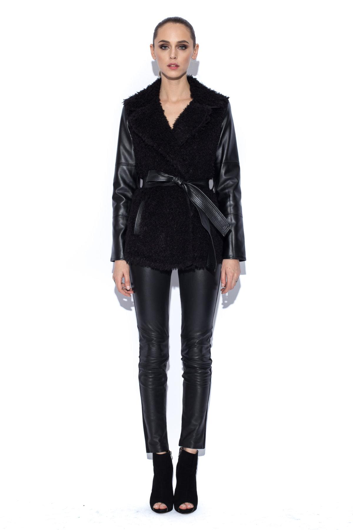Jacheta neagra cu maneci din piele si cordon in talie Negru