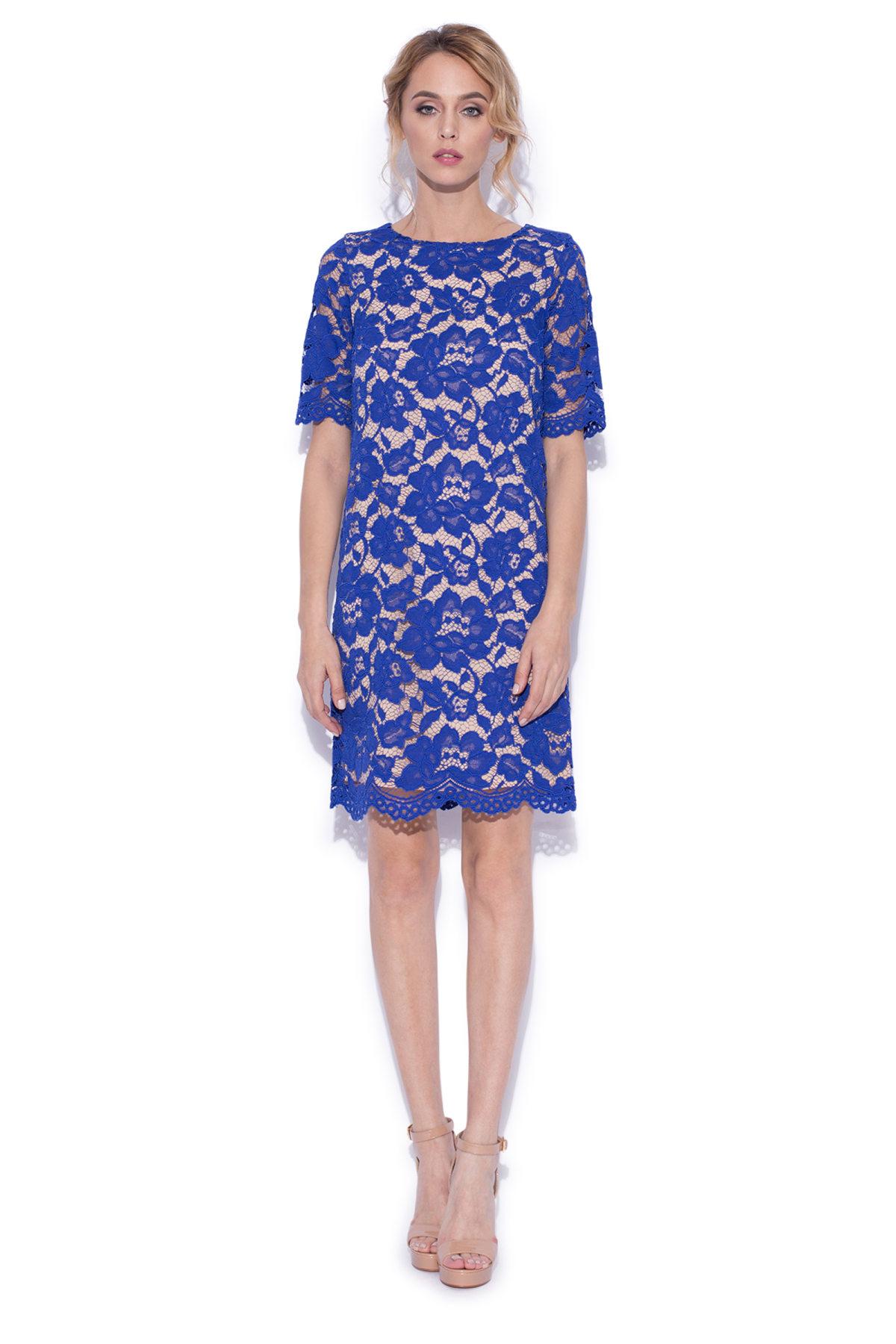 Rochie de seara mini din dantela Albastru electric