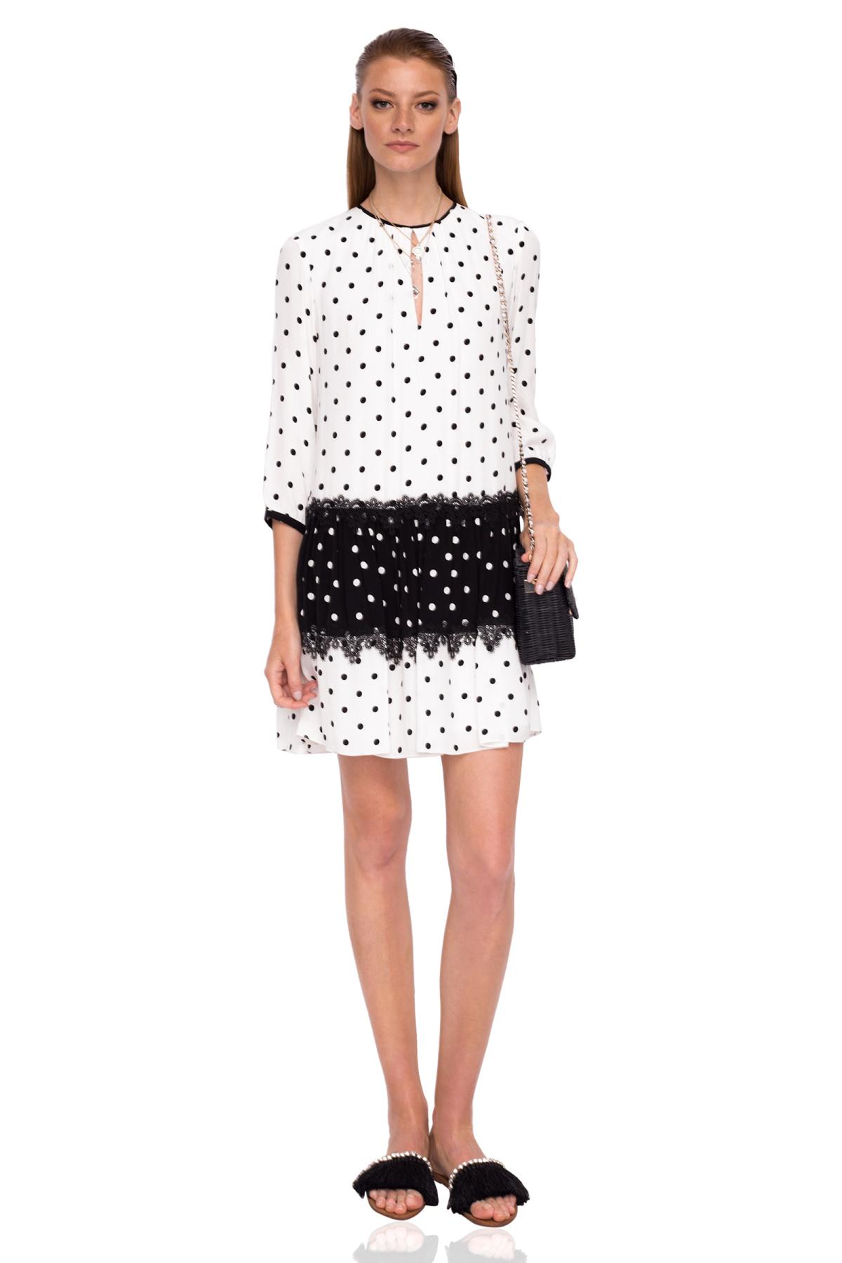 Rochie alb-negru cu buline Buline negre