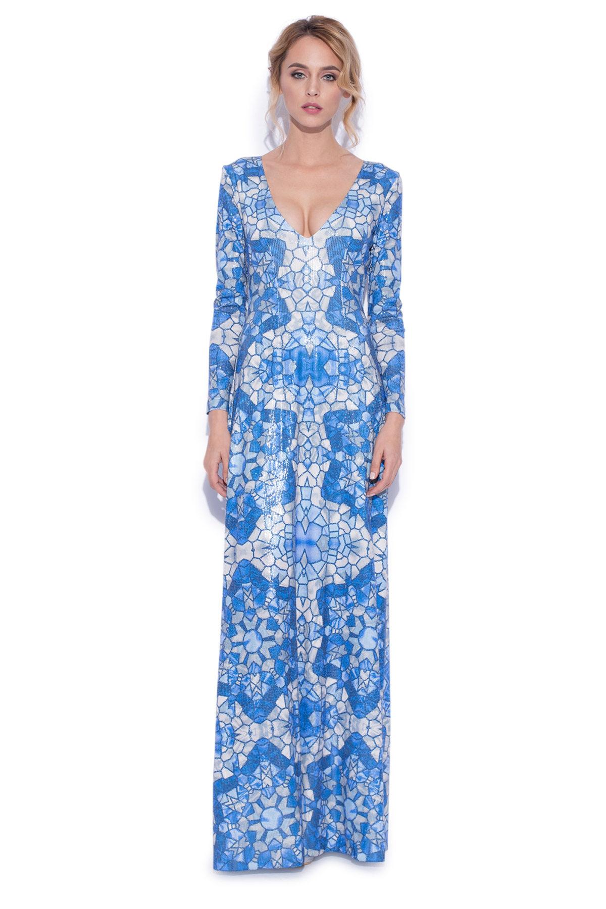 Rochie maxi cu paiete si print albastru Imprimeu