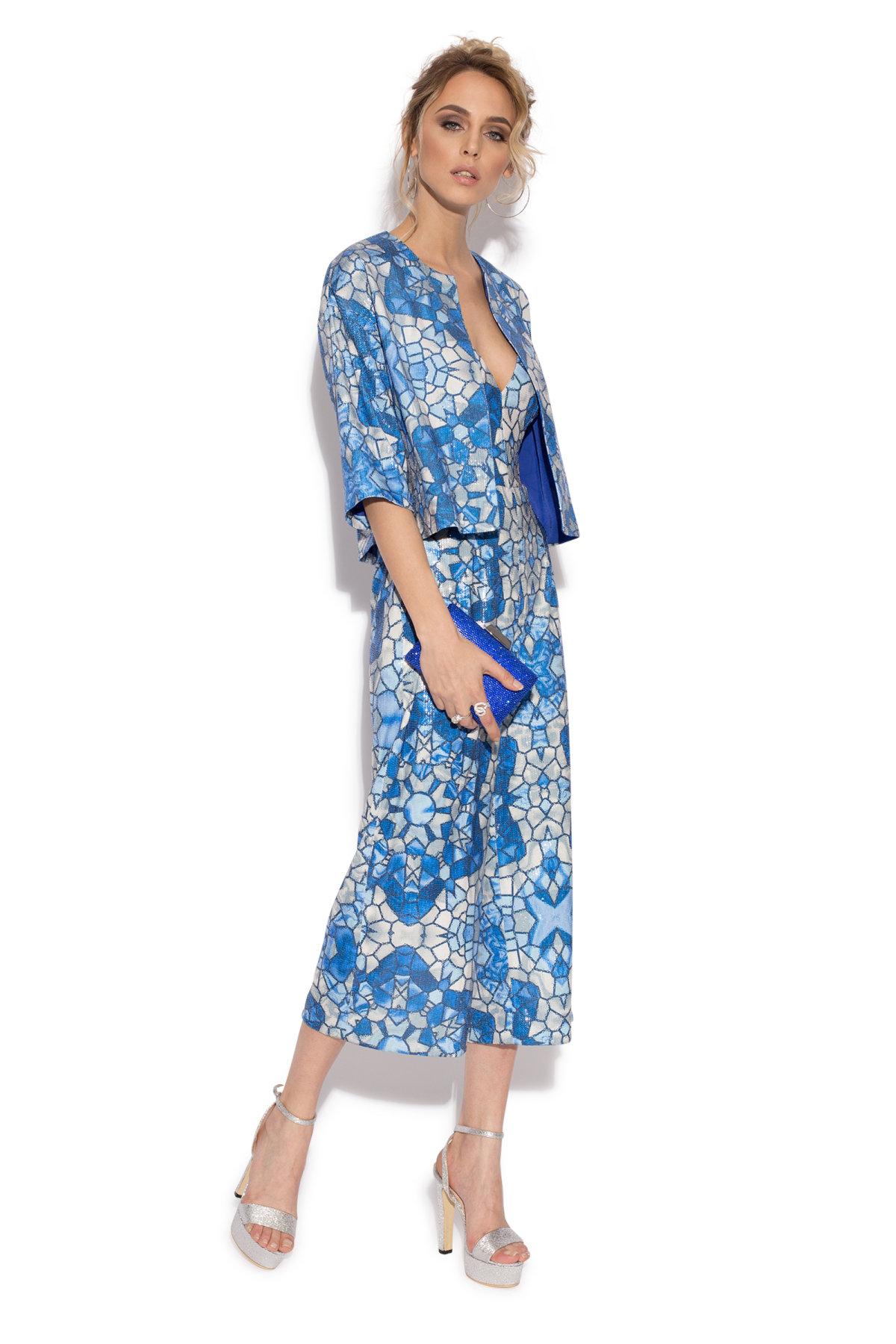 Bolero elegant cu print geometric albastru IMPRIMAT