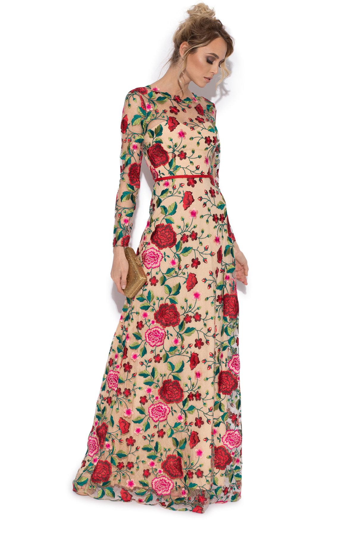 Rochie maxi cu broderie Multicolor