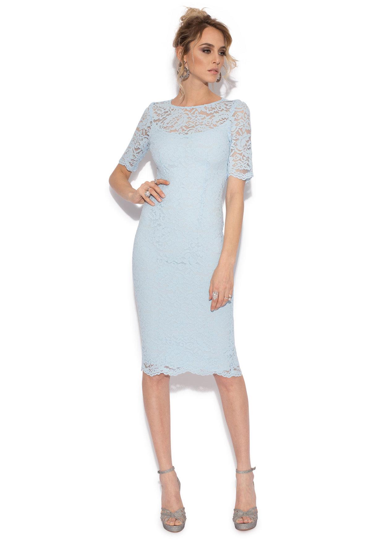 Rochie de seara din dantela cu croiala conica Albastru Deschis
