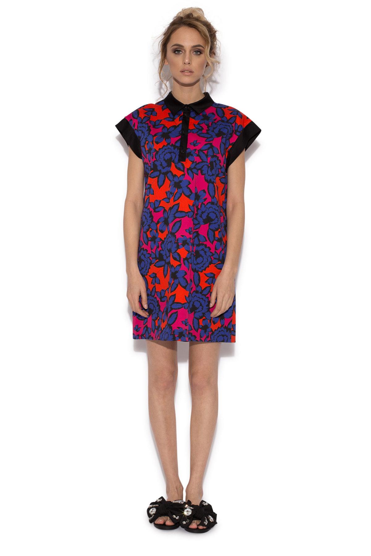 Rochie multicolora cu maneca scurta Imprimeu