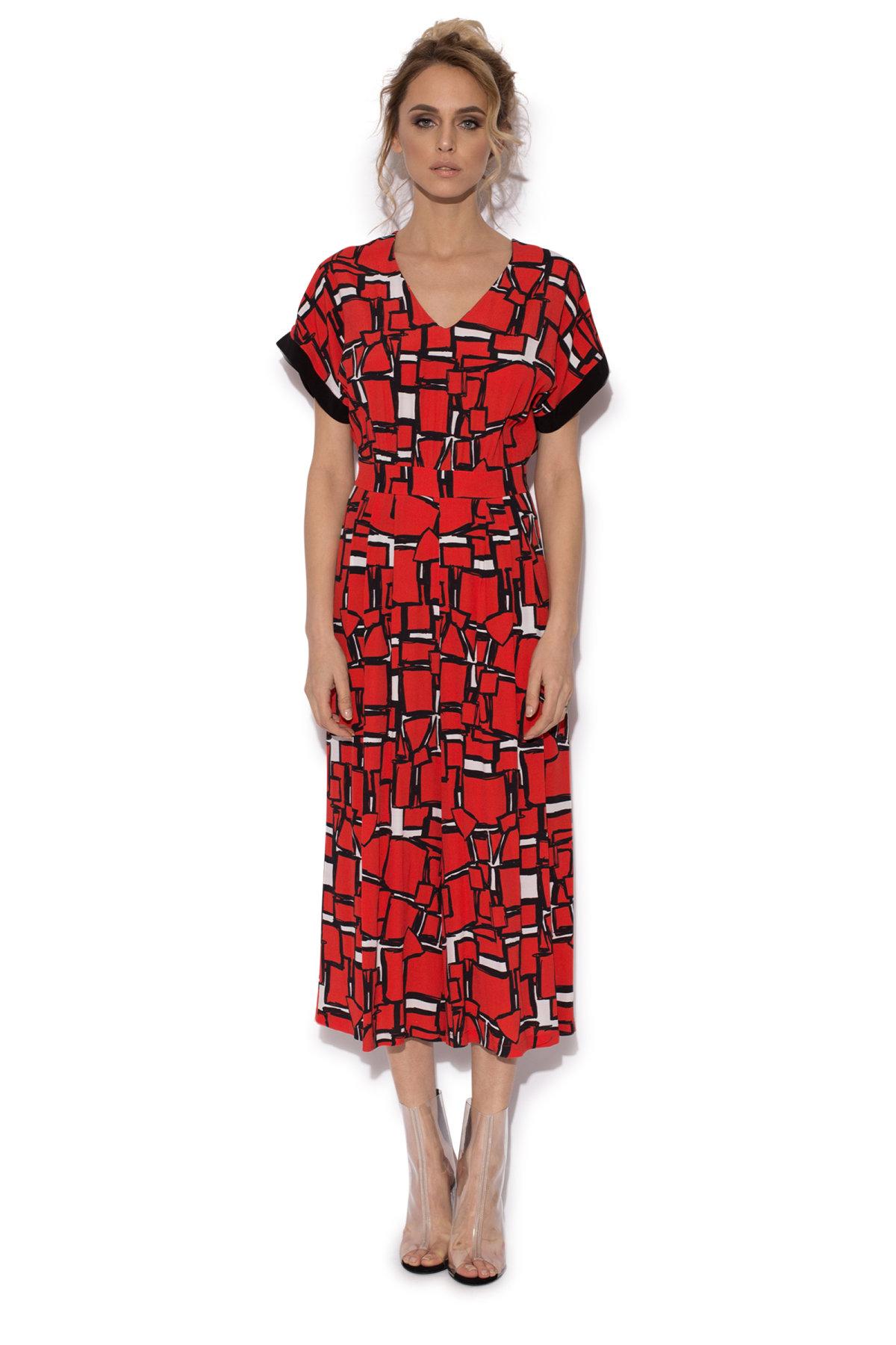 Salopeta culottes cu print geometric Rosu
