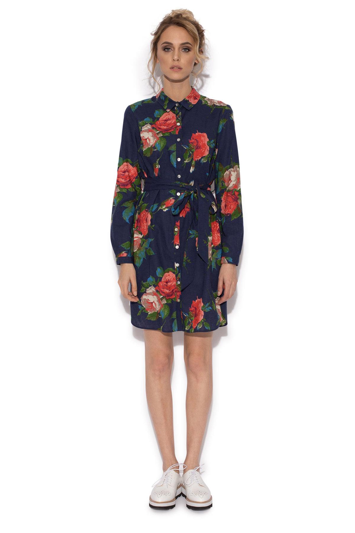 Rochie camasa cu print floral Imprimeu