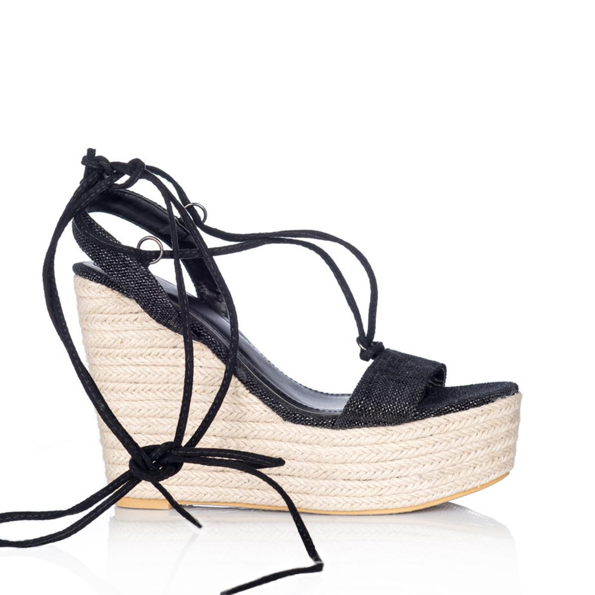 Sandale cu siret si platforma din panza Negru