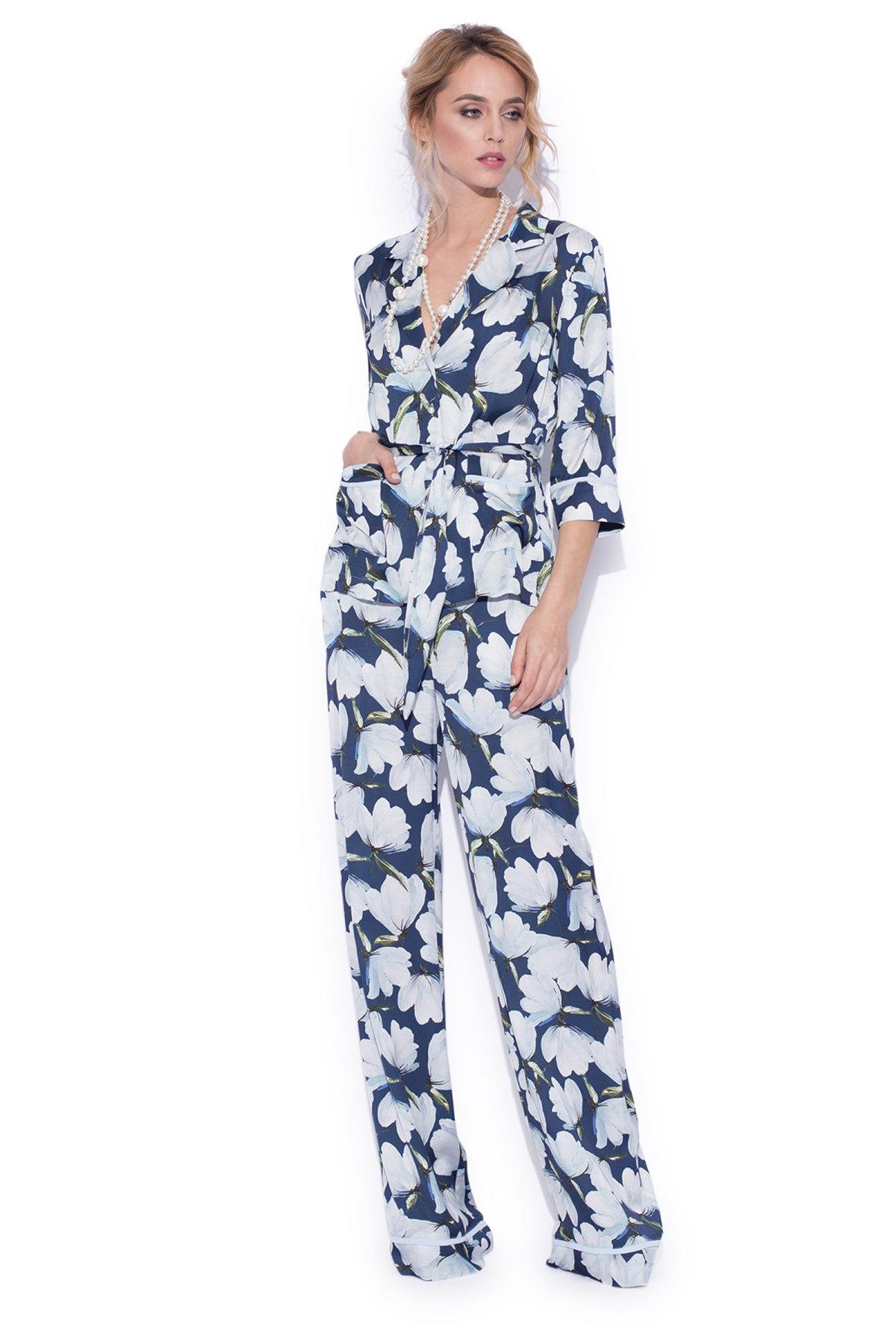Pantaloni largi cu imprimeu floral Imprimeu