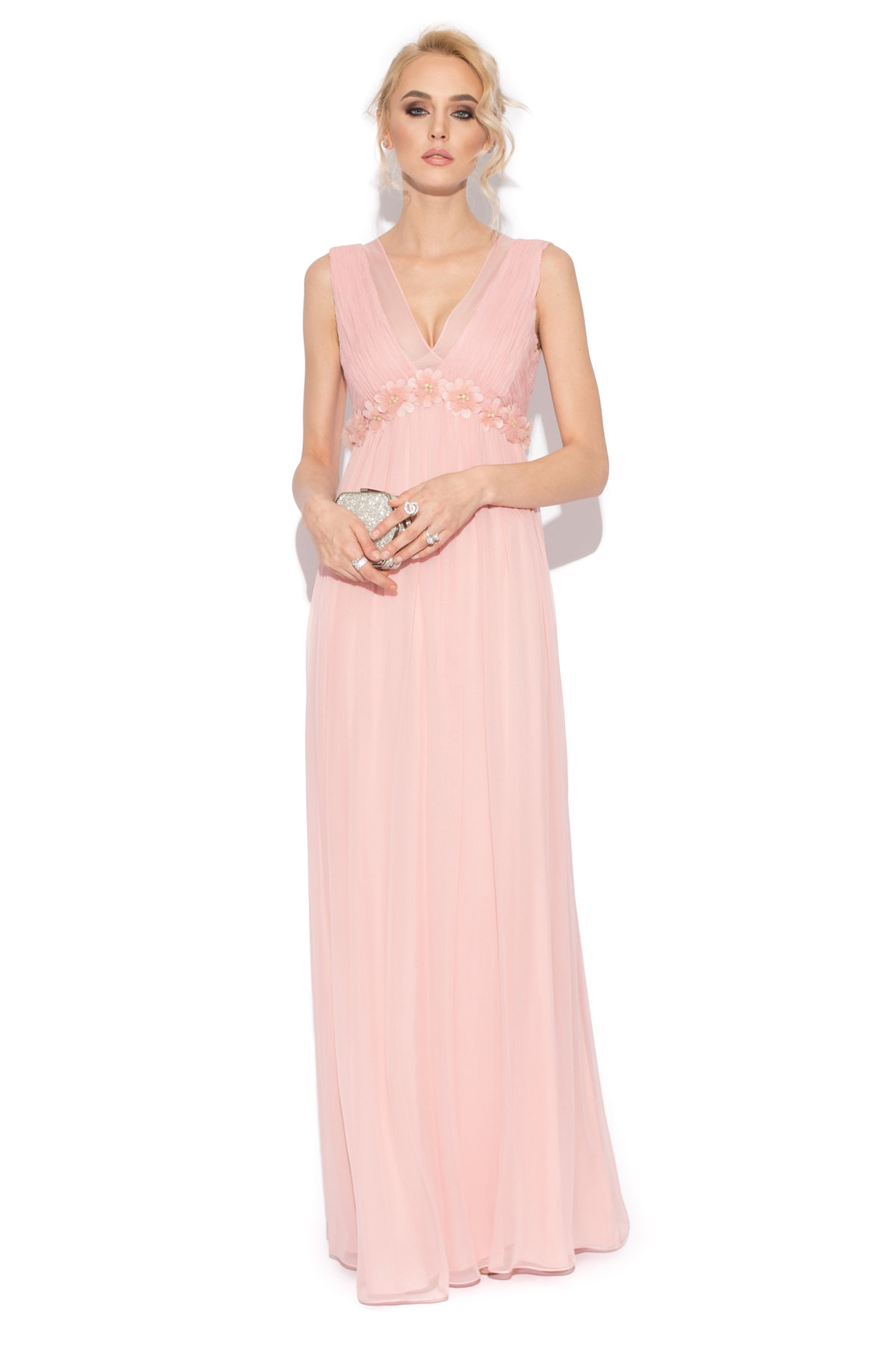 Rochie de seara din matase naturala Roz