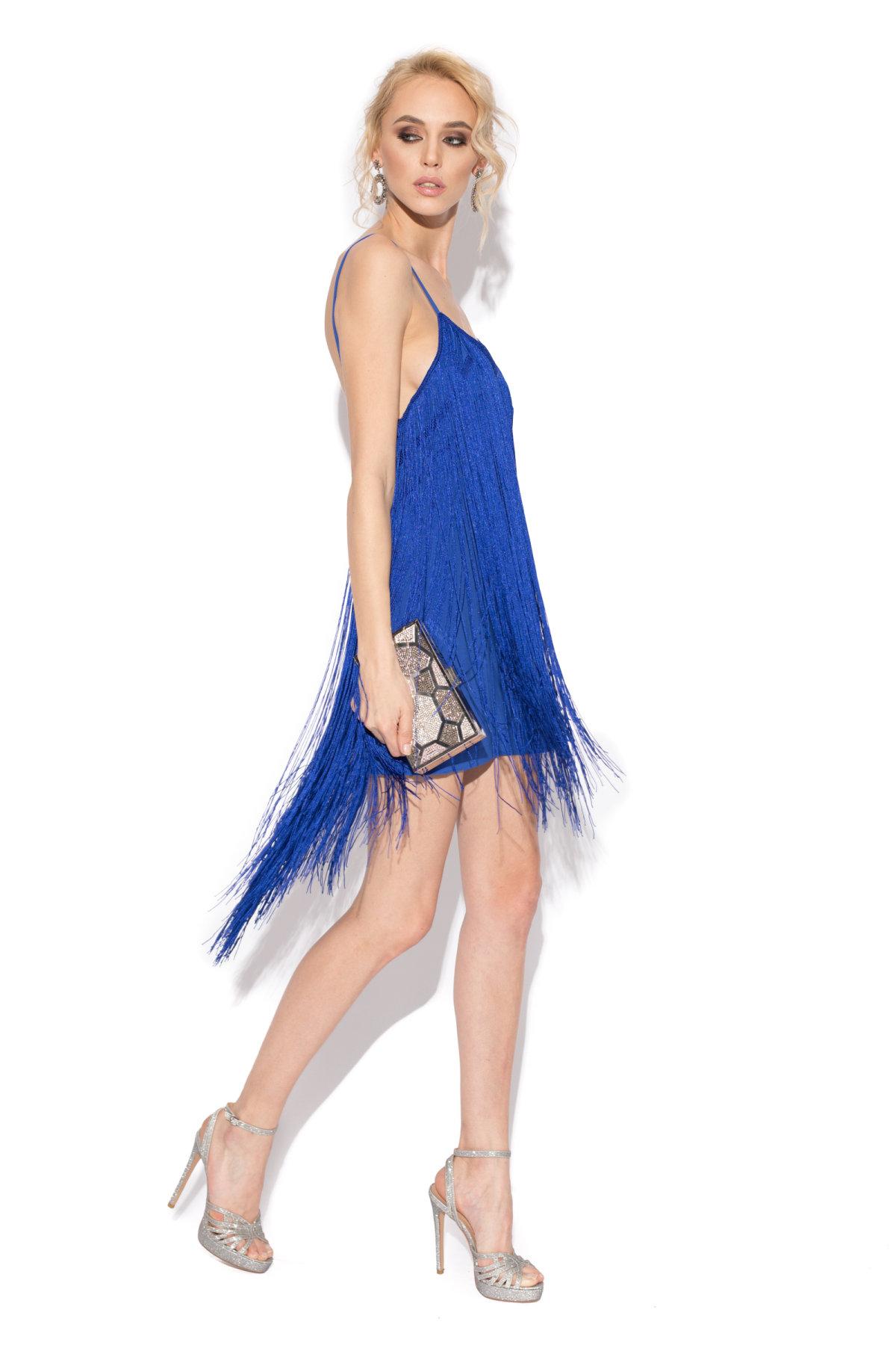 Rochie de seara cu franjuri Albastru electric