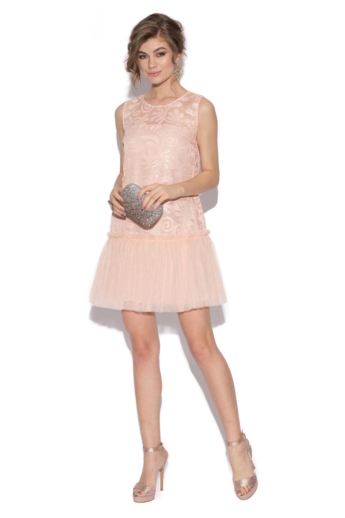 Rochie mini din dantela cu tulle Roz