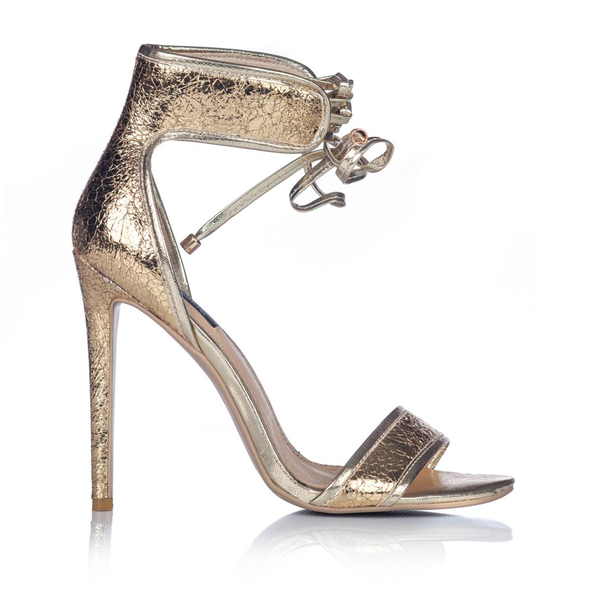 Sandale texturate aurii cu siret Auriu