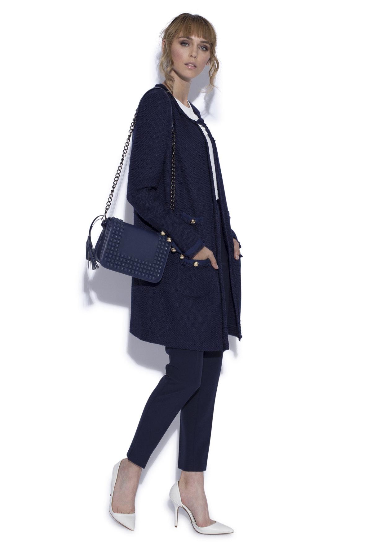 Palton cu buzunare frontale Bleumarin