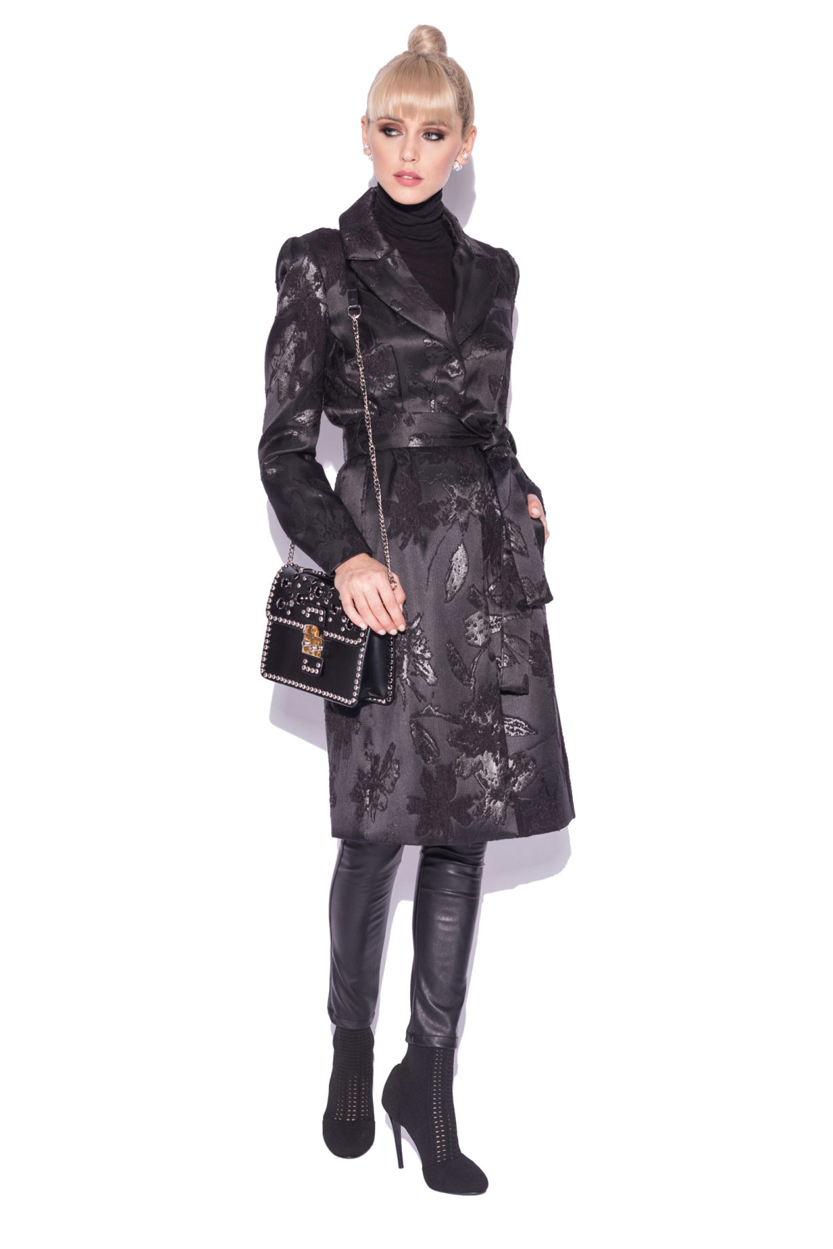 Palton elegant din brocart Negru