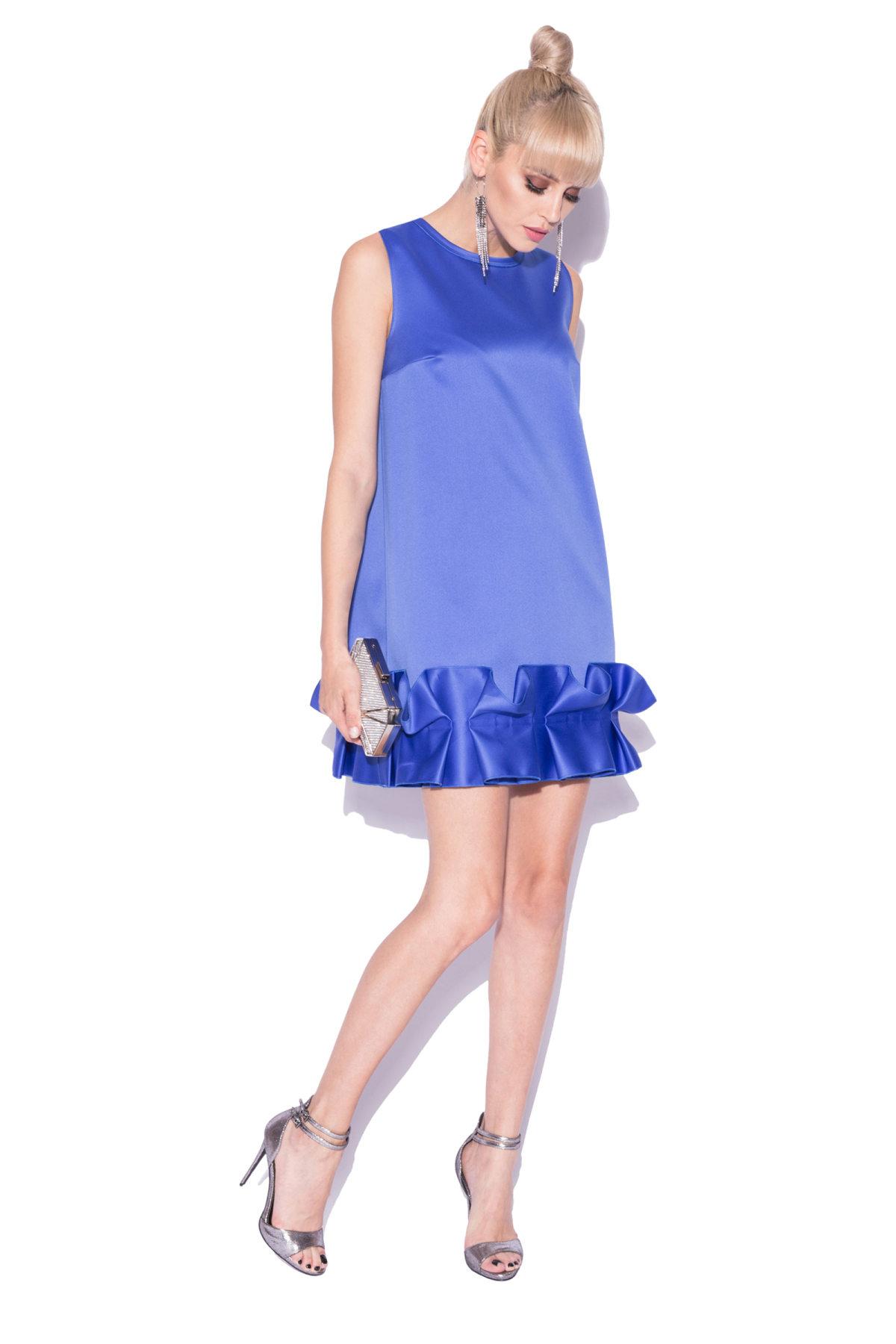 Rochie de seara cu volane aplicate Albastru