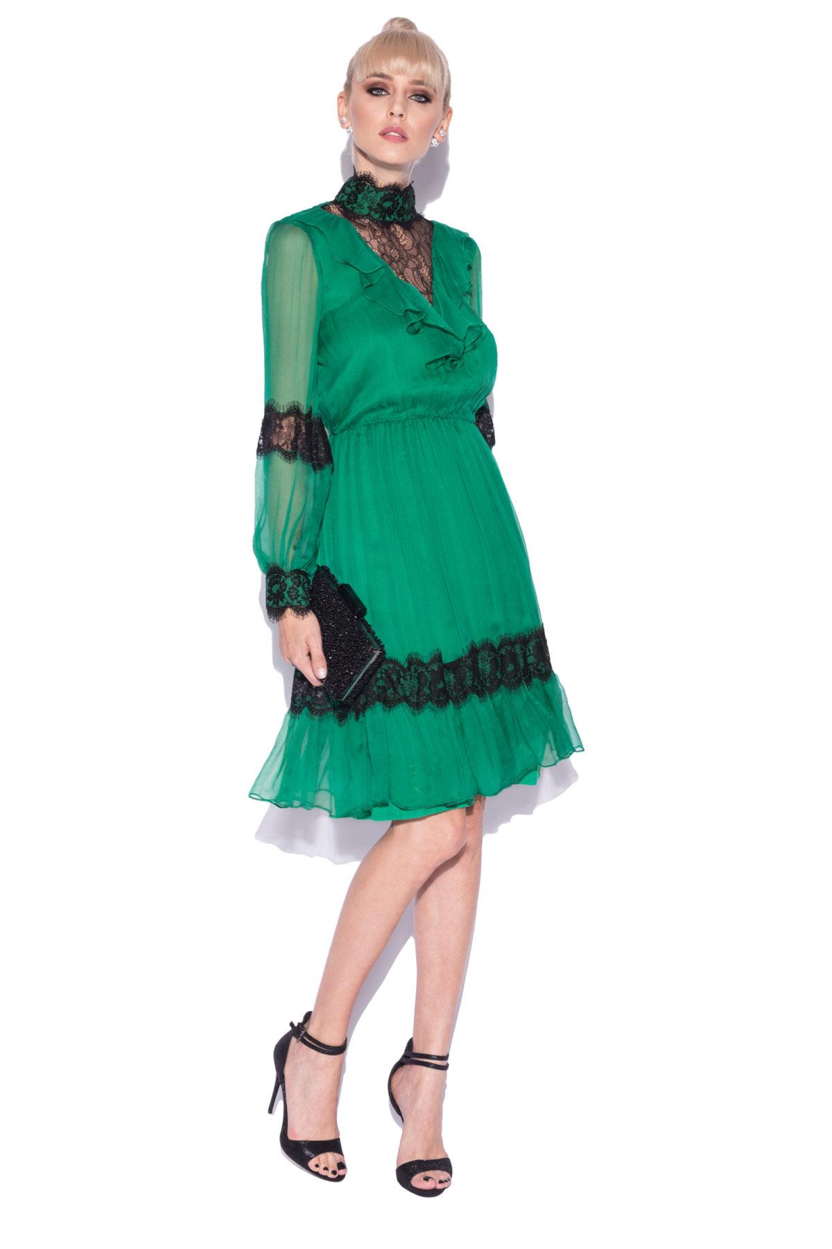Rochie din matase naturala cu insertii din dantela Verde