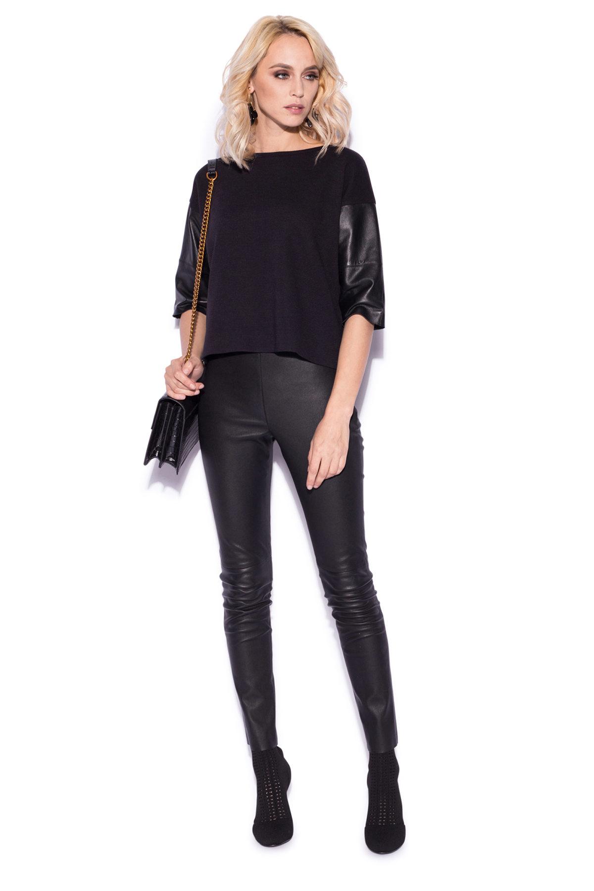 Pantaloni skinny din piele naturala Negru