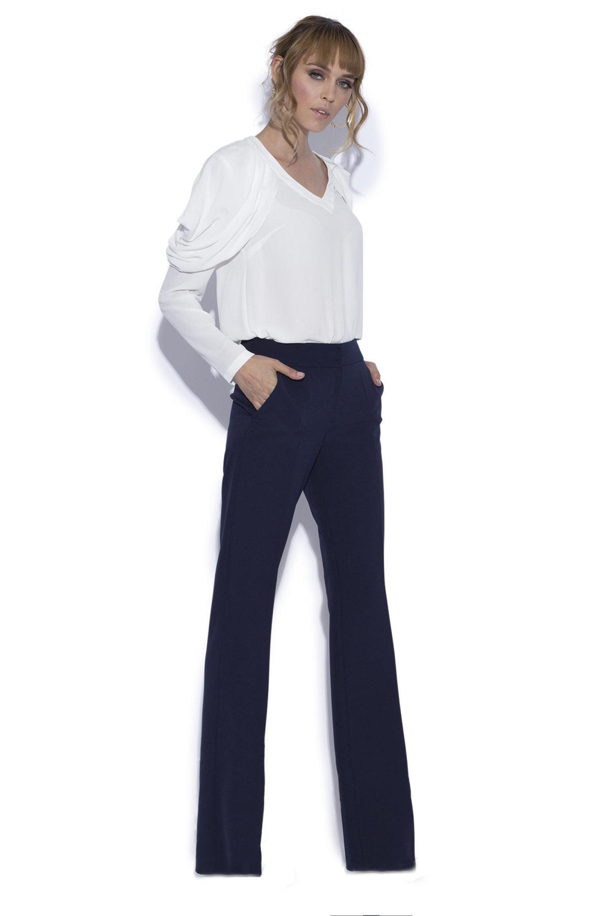 Pantaloni drepti navy Bleumarin