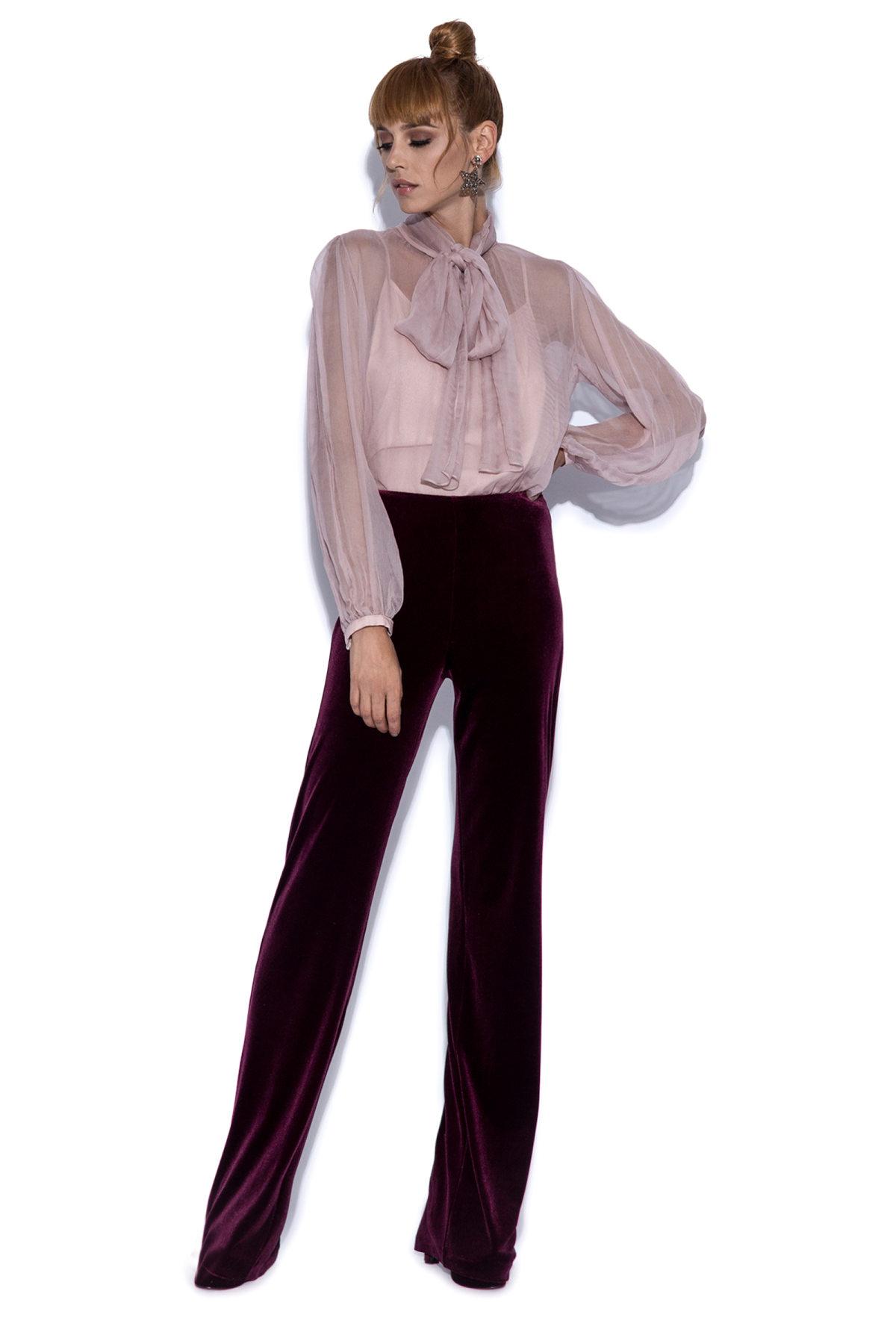 Pantaloni drepti bordo din catifea Bordo